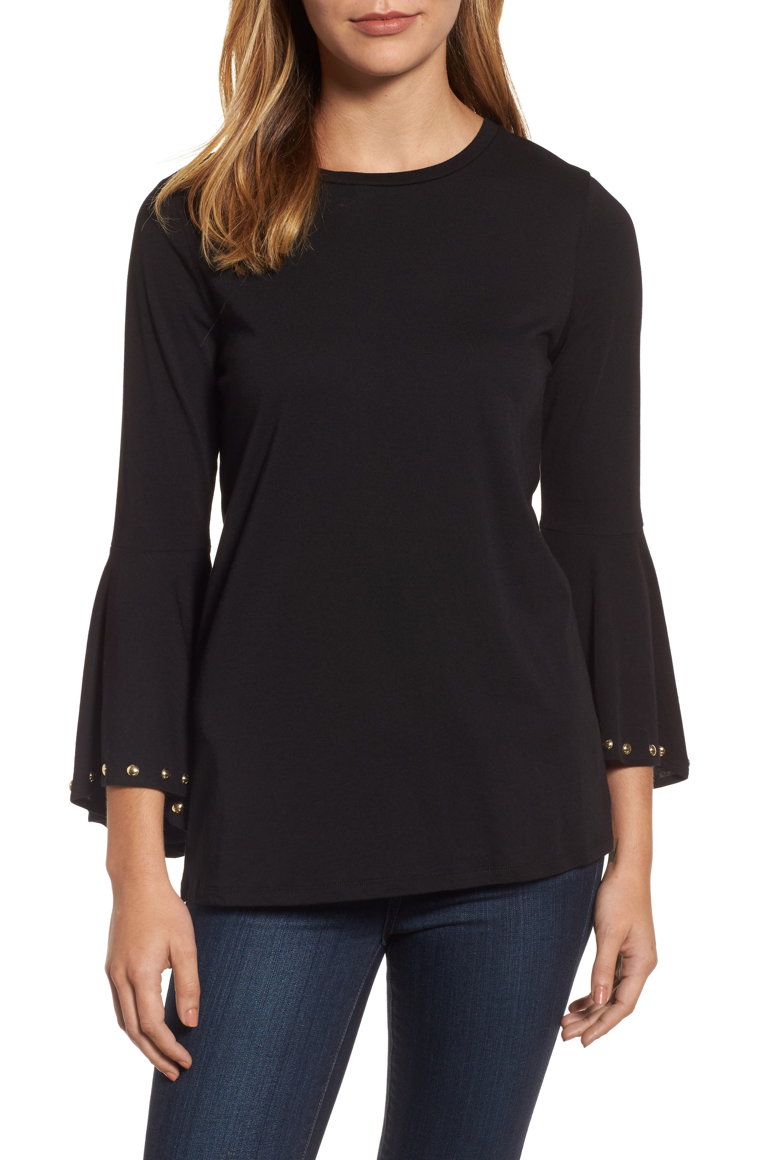 High/Low Bell Sleeve Top,                             Main thumbnail 1, color,