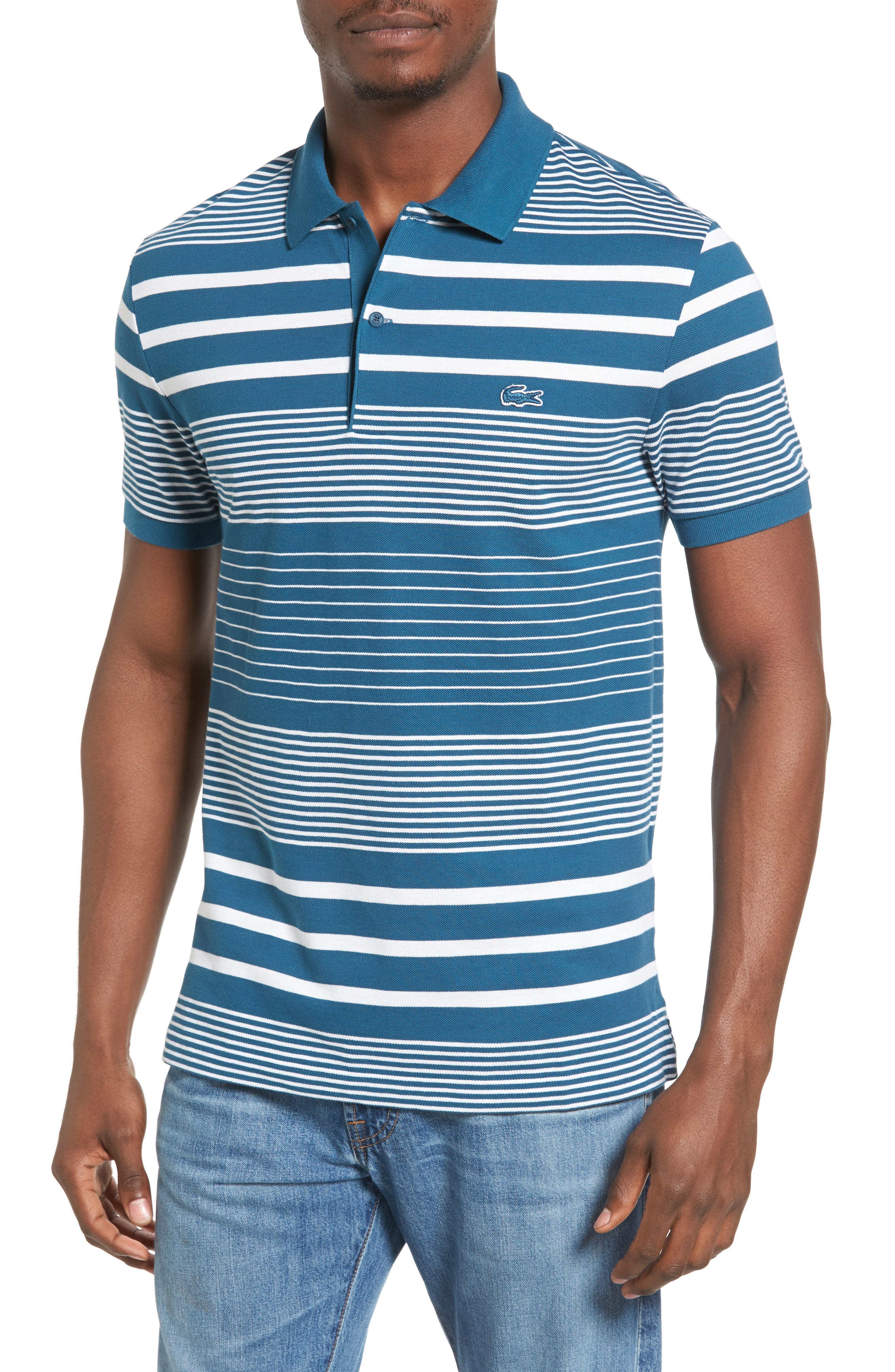 Stripe Piqué Polo,                         Main,                         color, 401