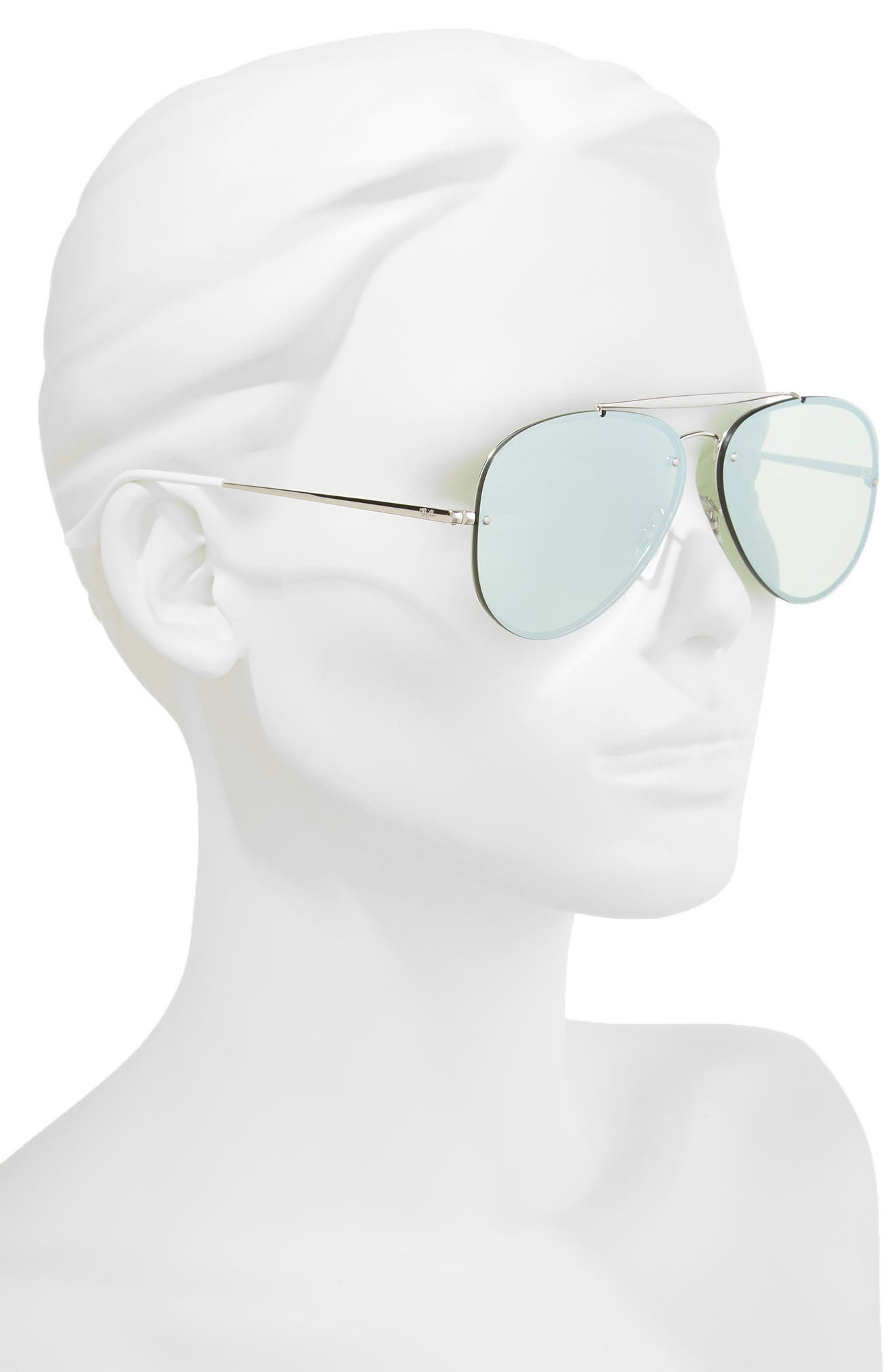 61mm Mirrored Lens Aviator Sunglasses,                             Alternate thumbnail 3, color,