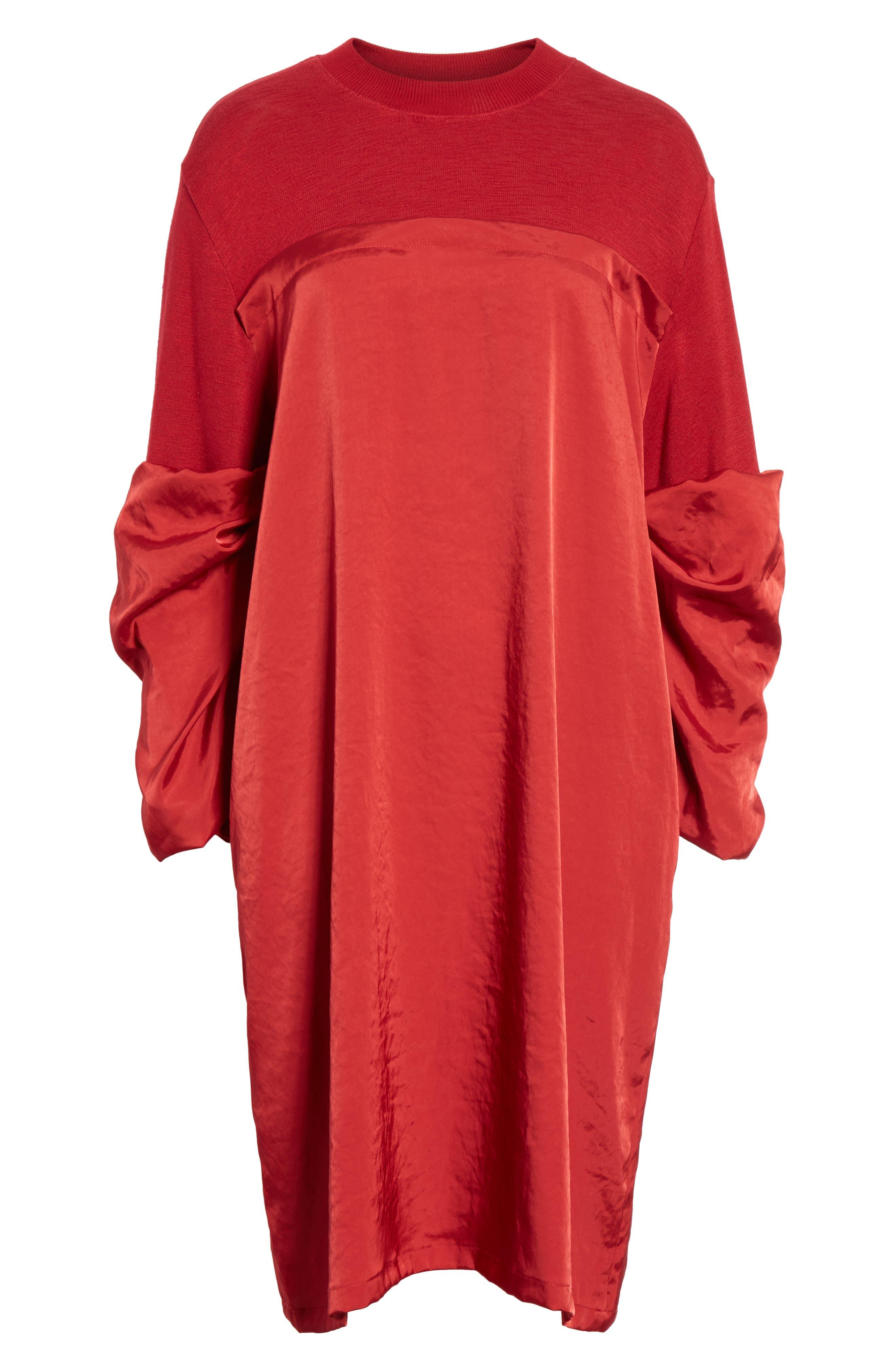 Mixed Media Shift Dress,                             Alternate thumbnail 7, color,                             RED