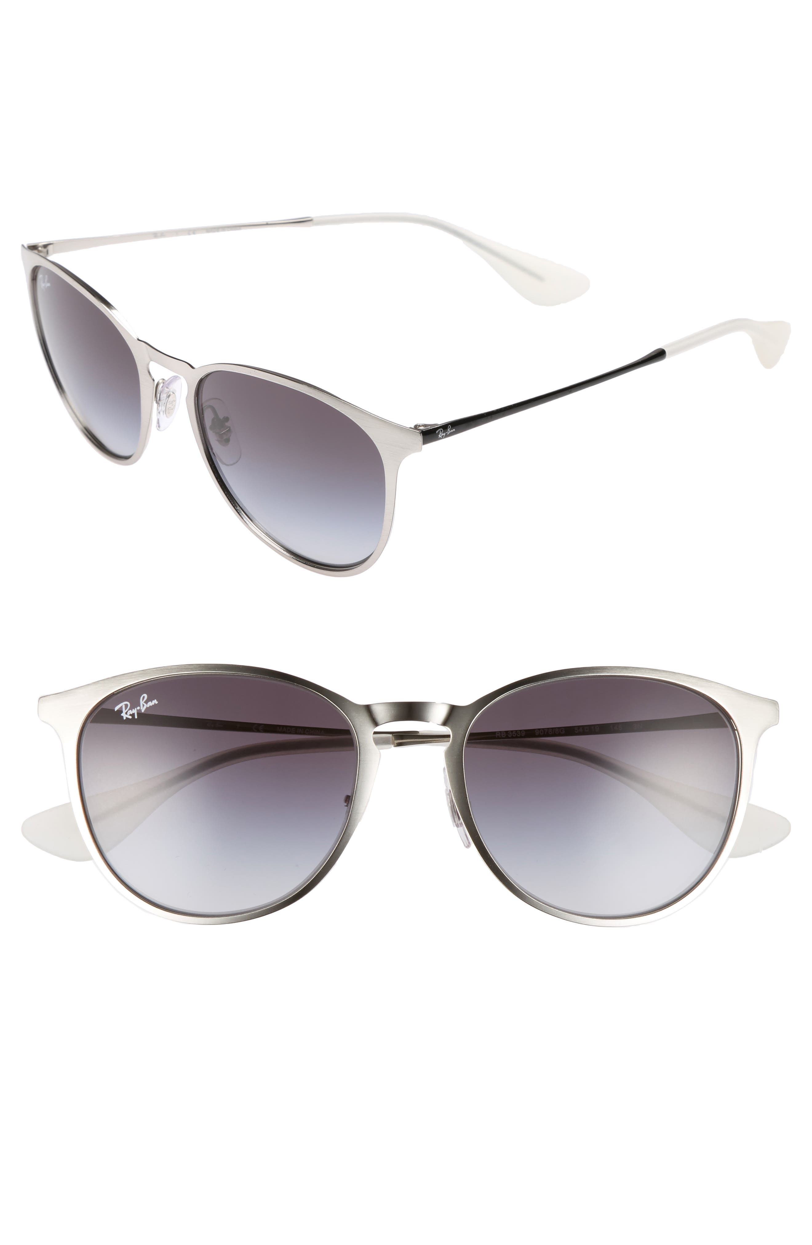 Erika 54mm Metal Sunglasses,                             Main thumbnail 1, color,                             LITE SILVER