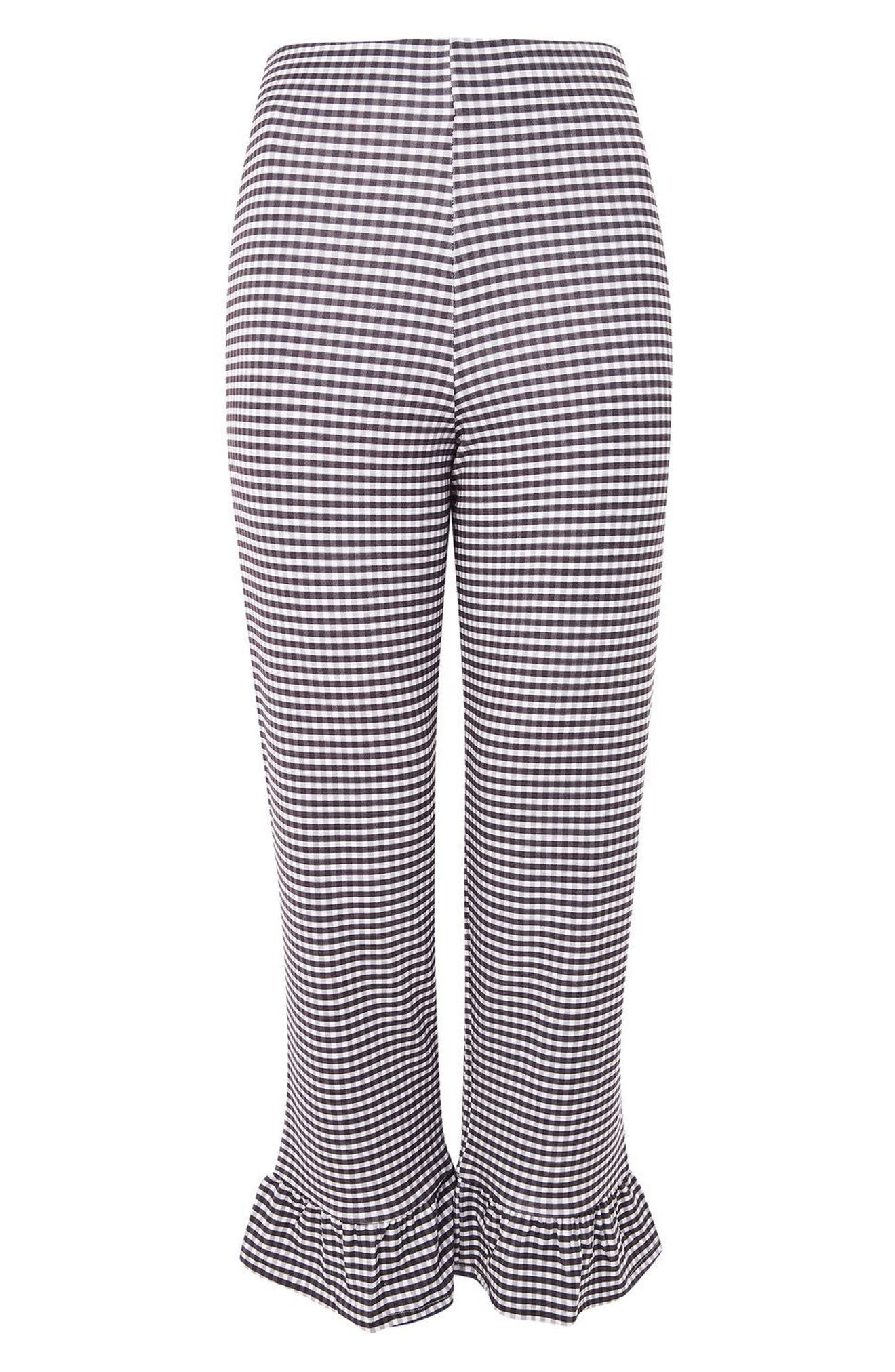 Gingham Ruffle Capri Trousers,                             Alternate thumbnail 4, color,