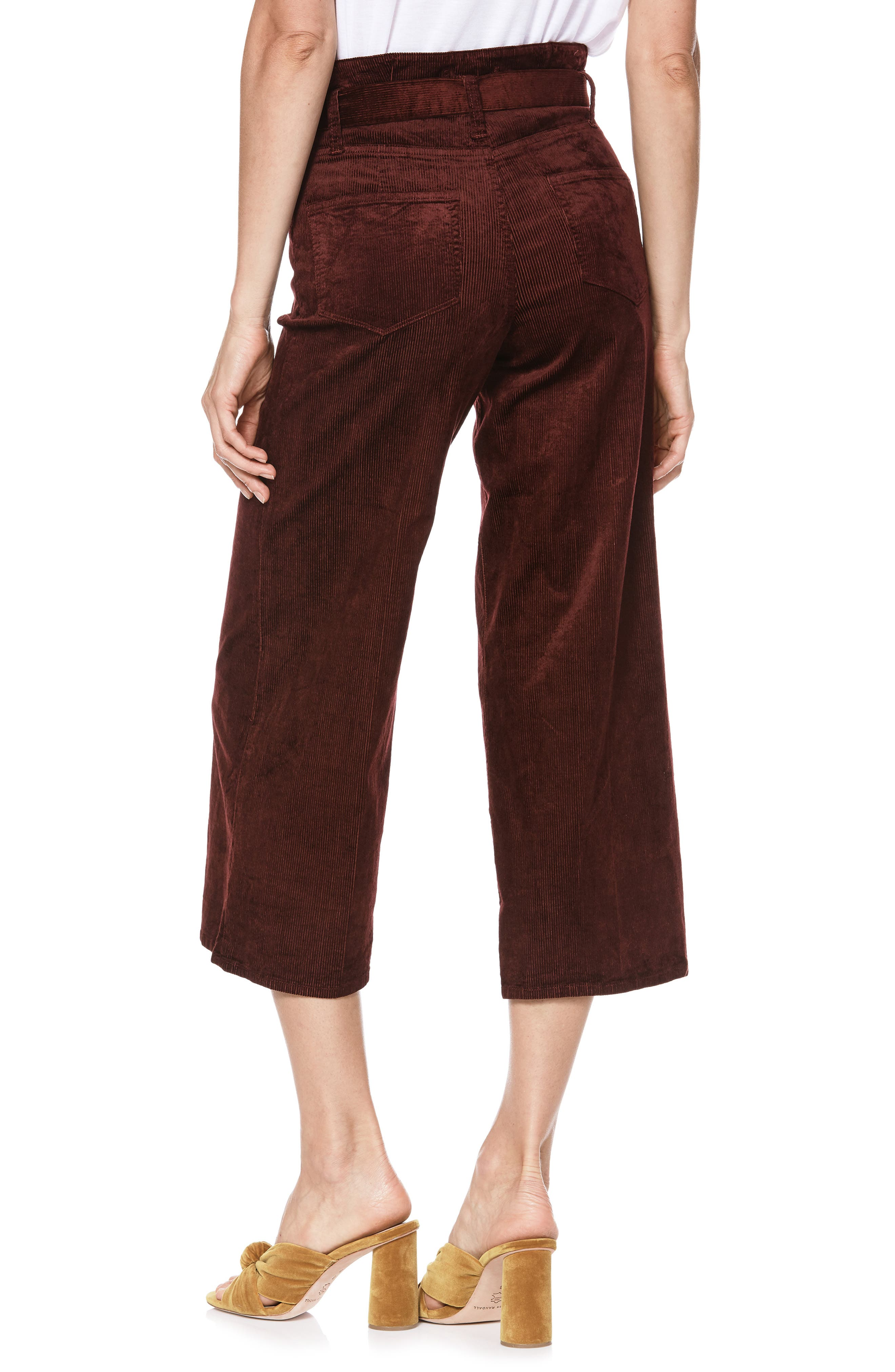Sutton Paperbag Crop Wide Leg Corduroy Pants,                             Alternate thumbnail 2, color,                             DARK CURRANT