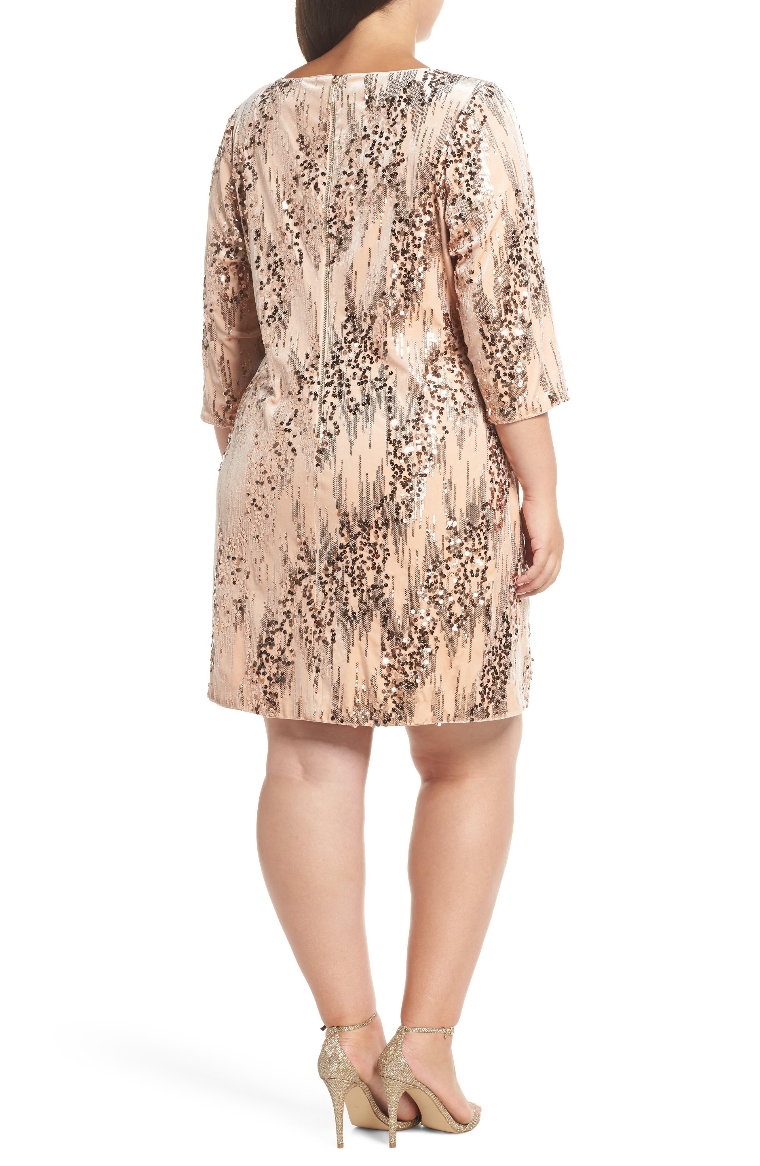 Sequin Velvet Shift Dress,                             Alternate thumbnail 2, color,                             BLUSH