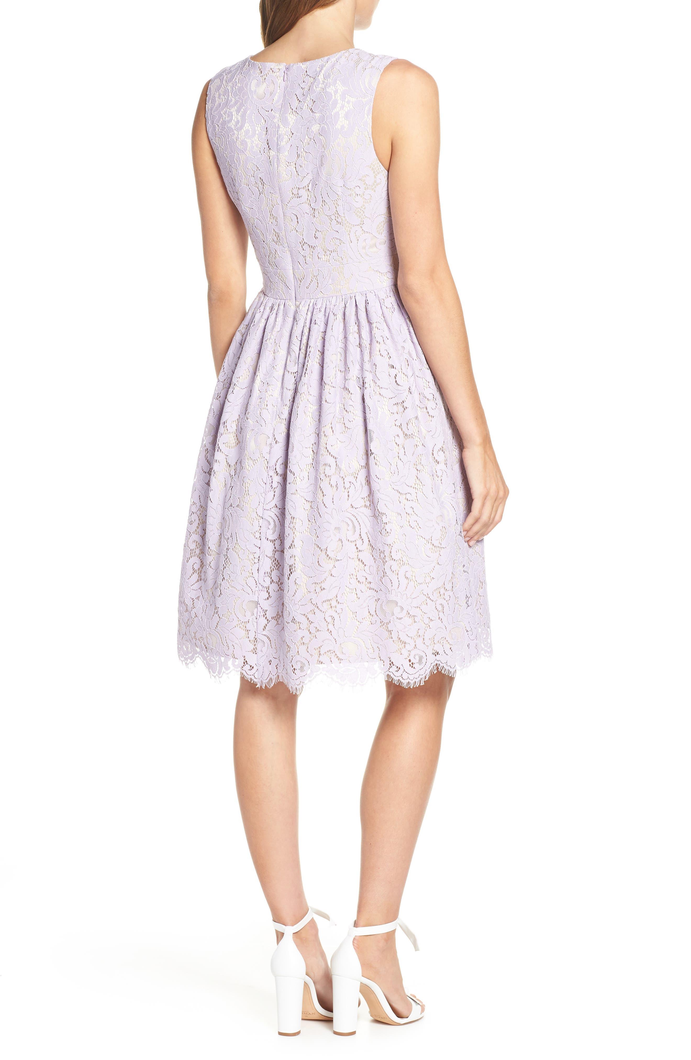 ELIZA J,                             Lace Fit & Flare Dress,                             Alternate thumbnail 2, color,                             LAVENDER