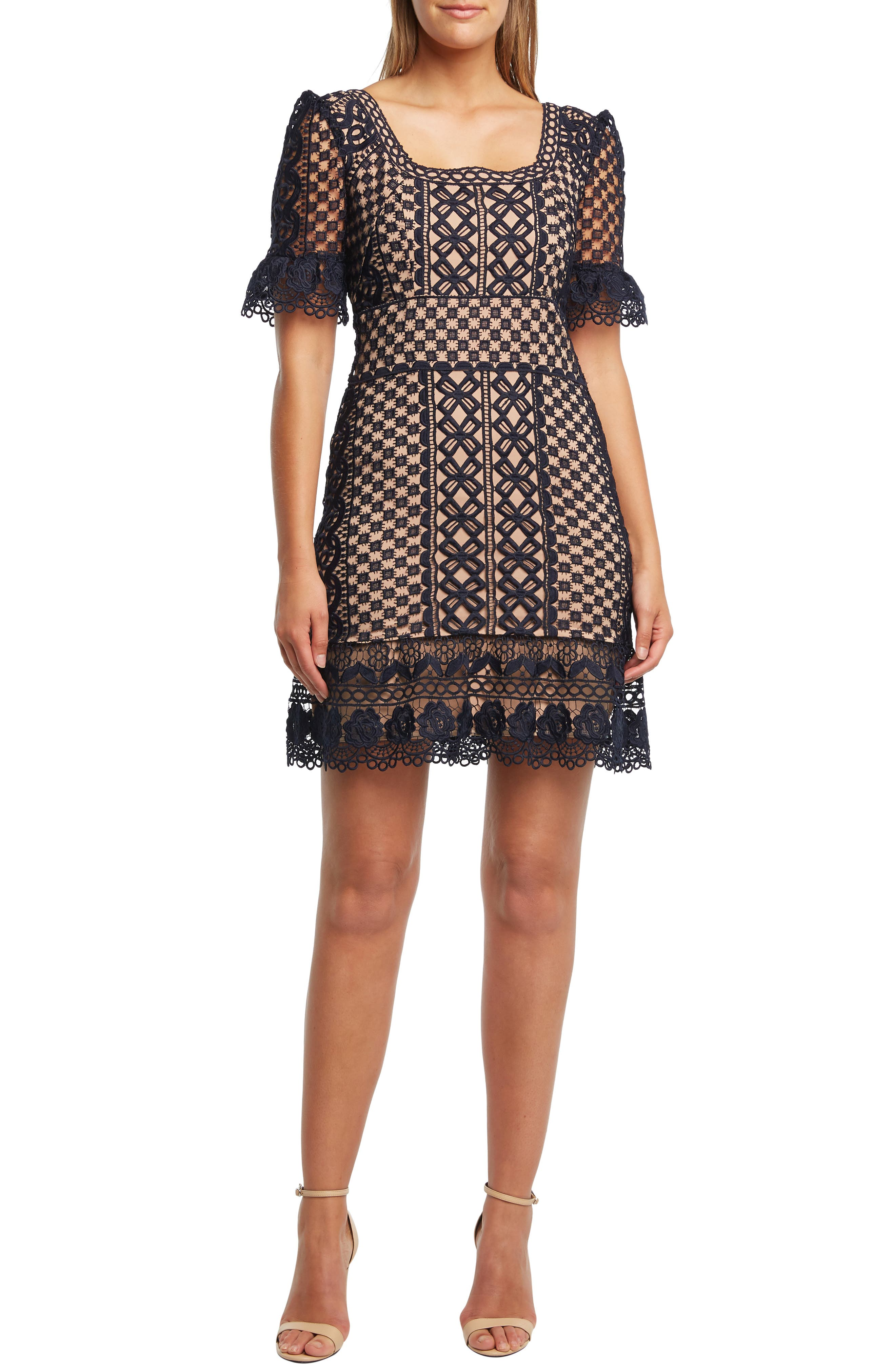 Bardot Daisy Lace A-Line Dress, Blue