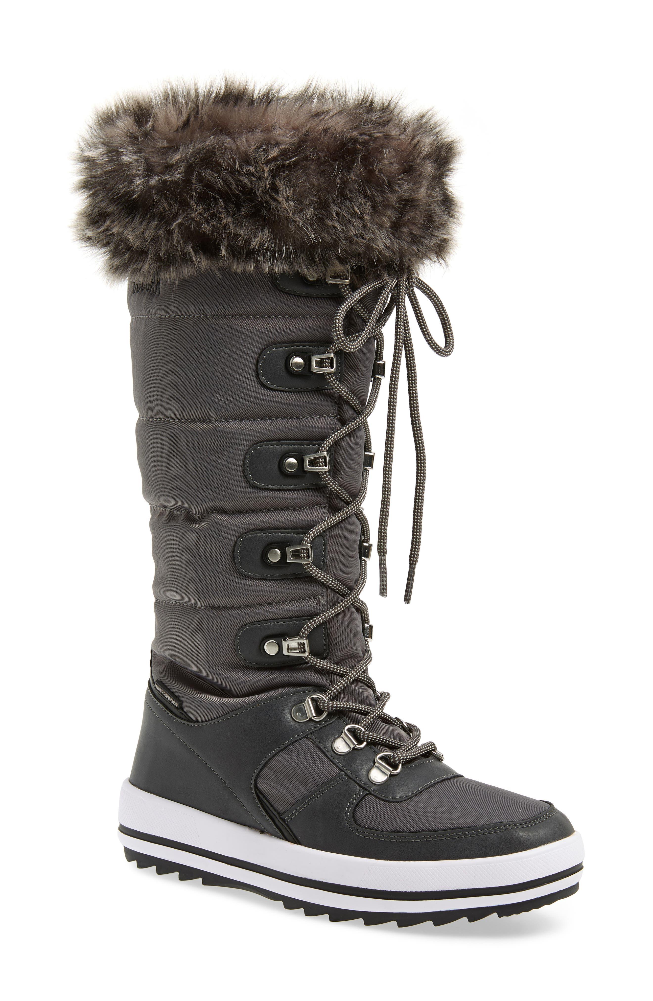 Cougar Vesta Faux Fur Collar Knee High Snow Boot, Grey