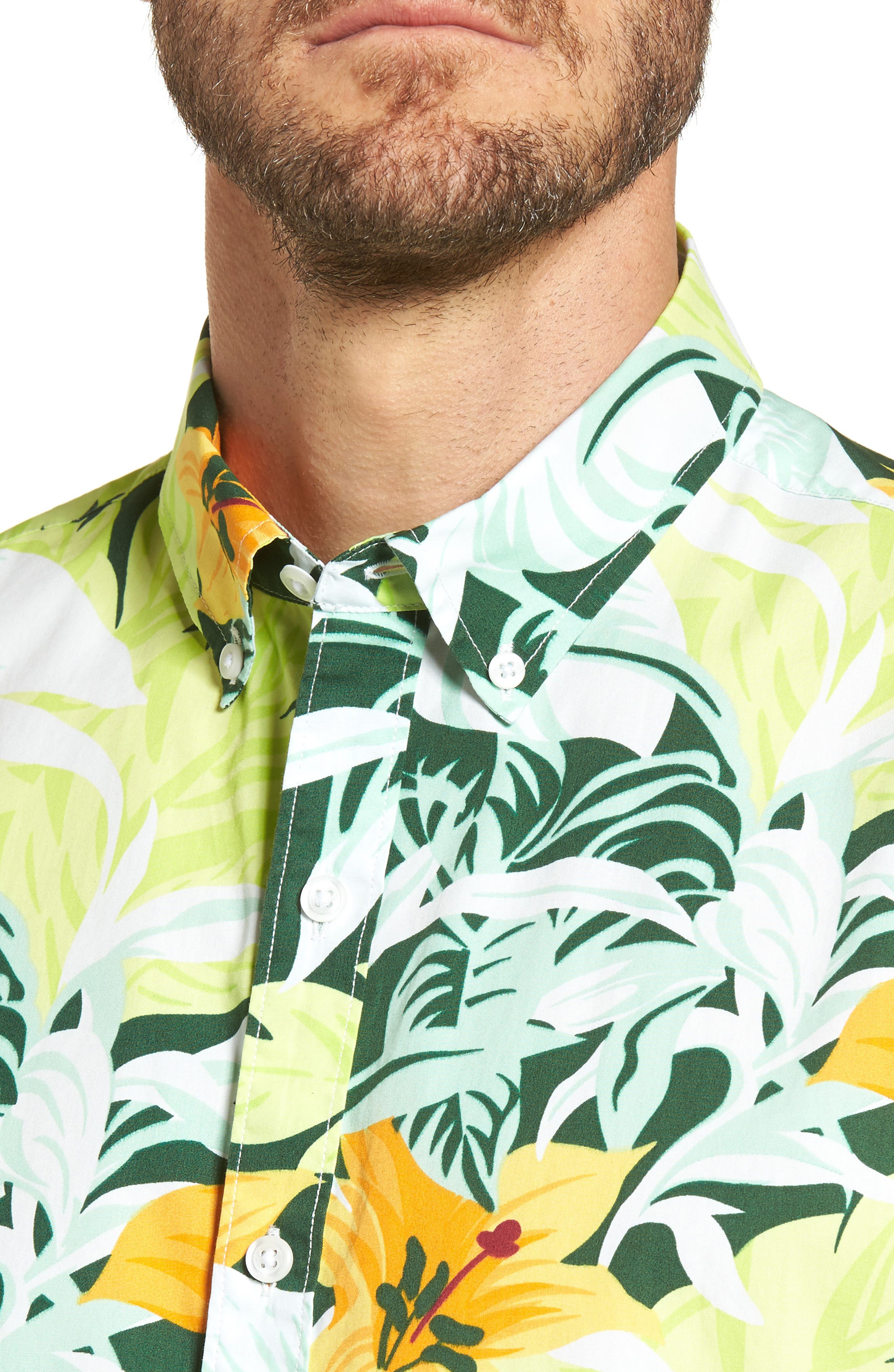 Slim Fit Tropical Sport Shirt,                             Alternate thumbnail 4, color,                             100