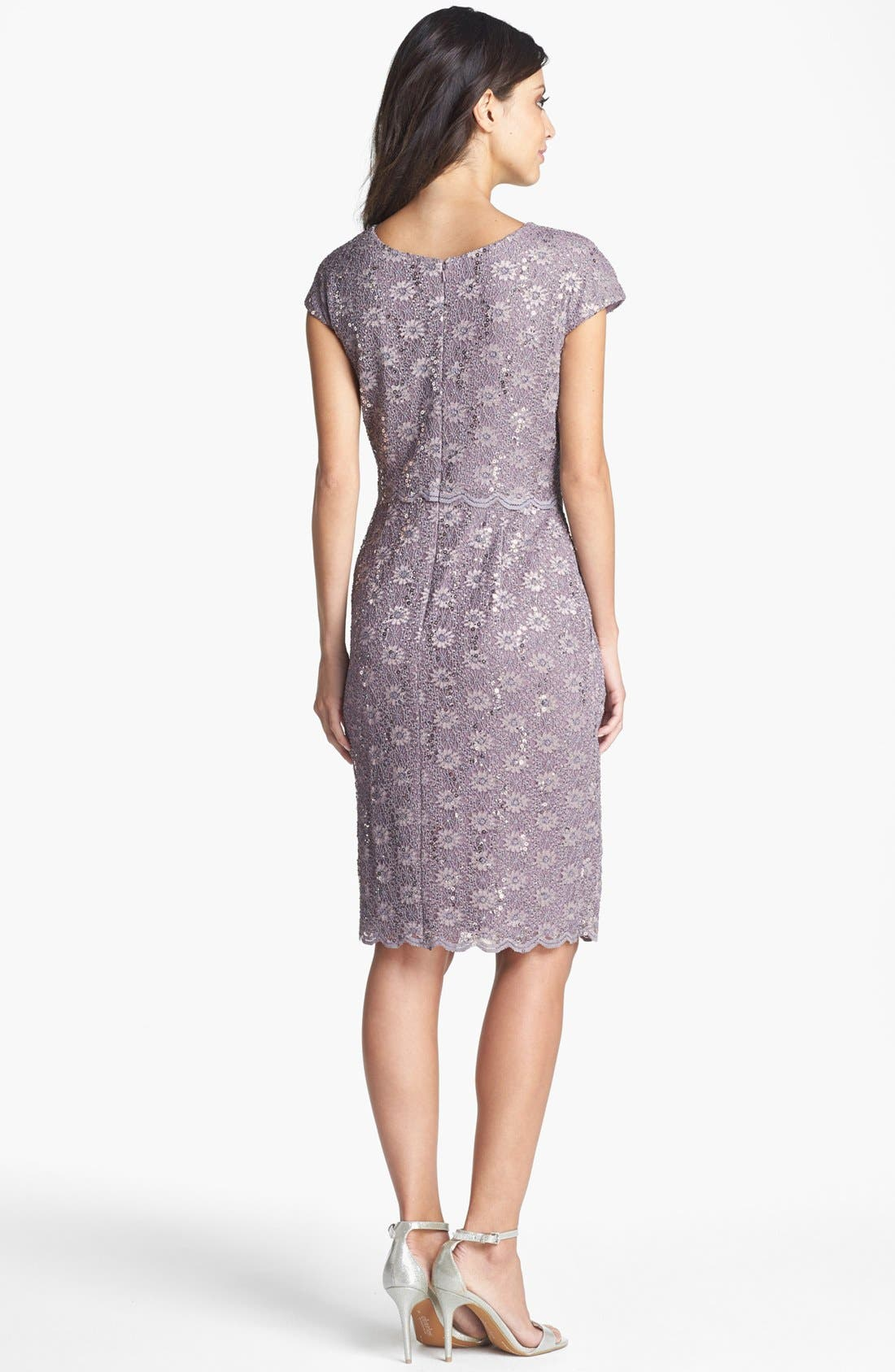 Sequin Lace Overlay Sheath Dress,                             Alternate thumbnail 3, color,                             031