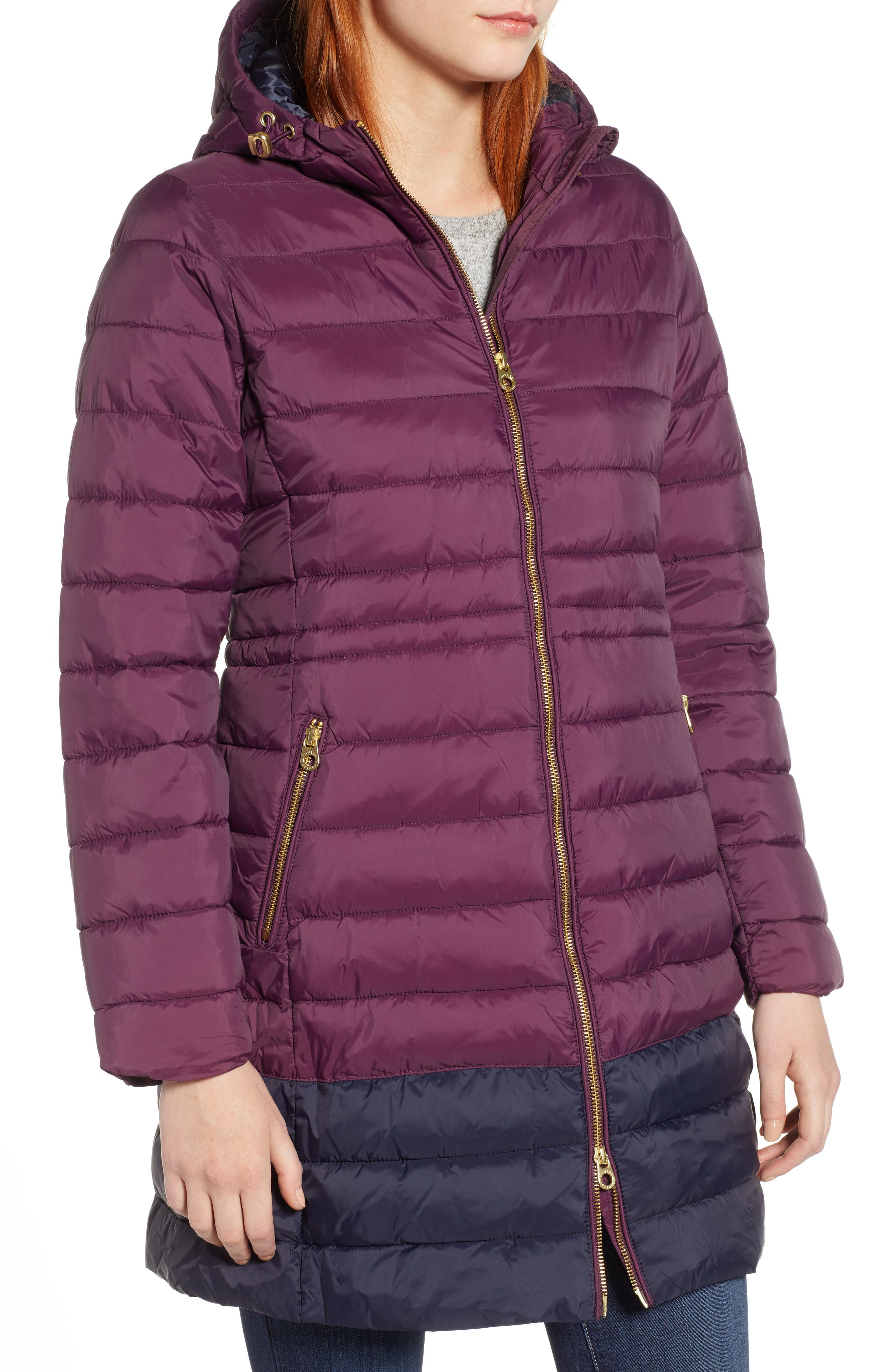 JOULES,                             Heathcote Two-Tone Puffer Jacket,                             Alternate thumbnail 5, color,                             BURGUNDY