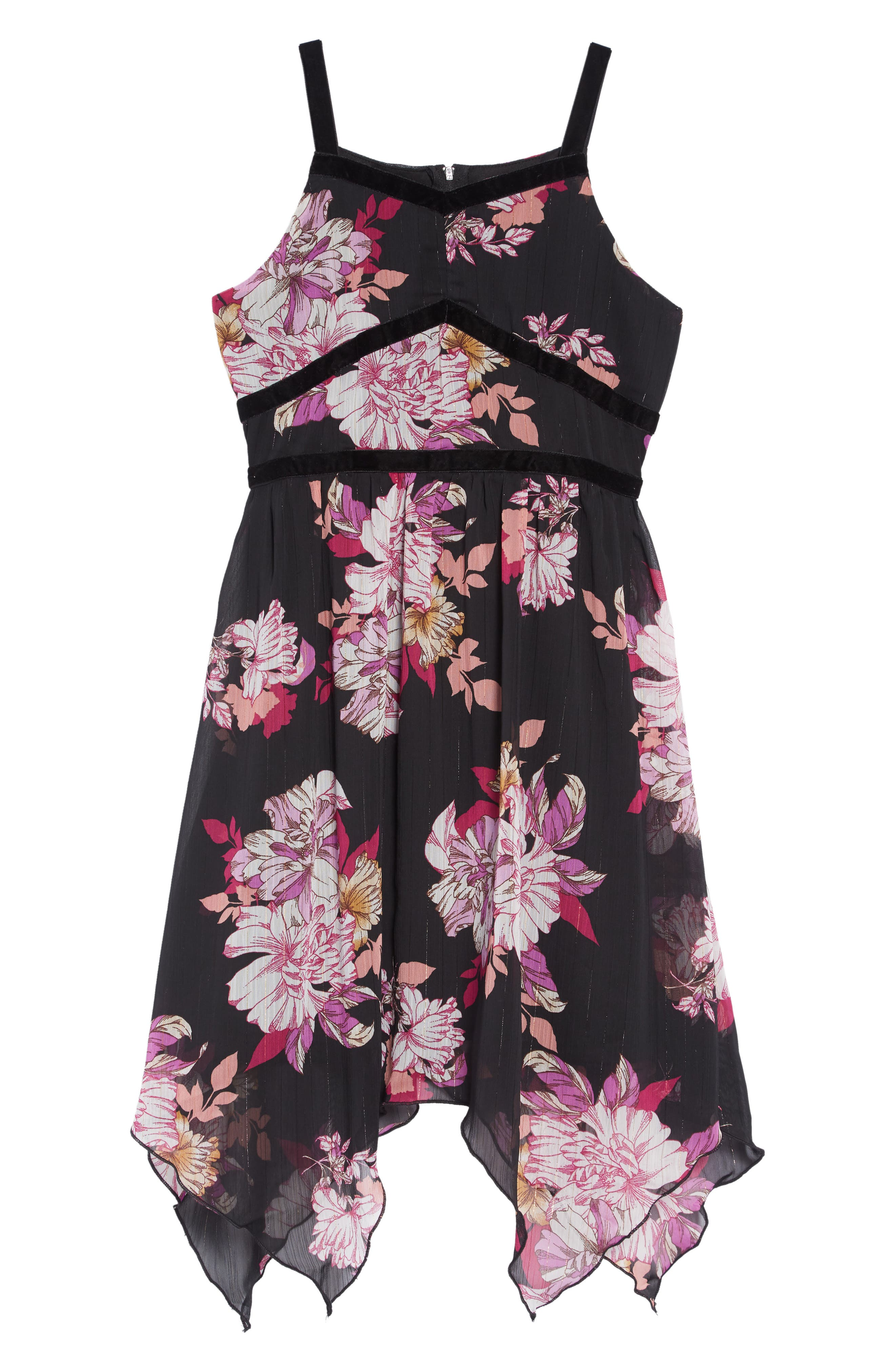 Floral Print Handkerchief Hem Dress,                             Main thumbnail 1, color,                             BLACK