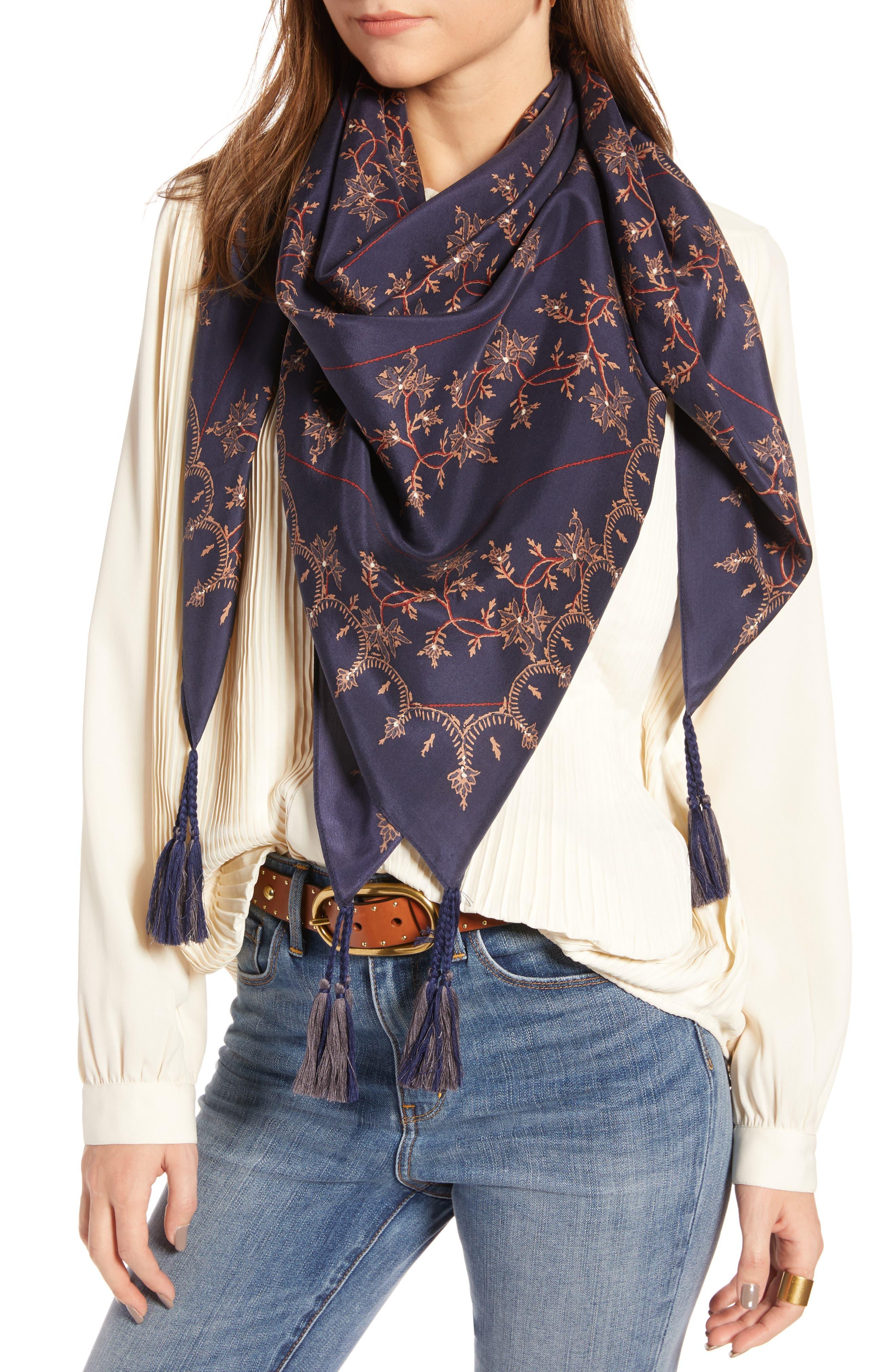 Silk Square Scarf,                         Main,                         color, NAVY PIONEER VINE