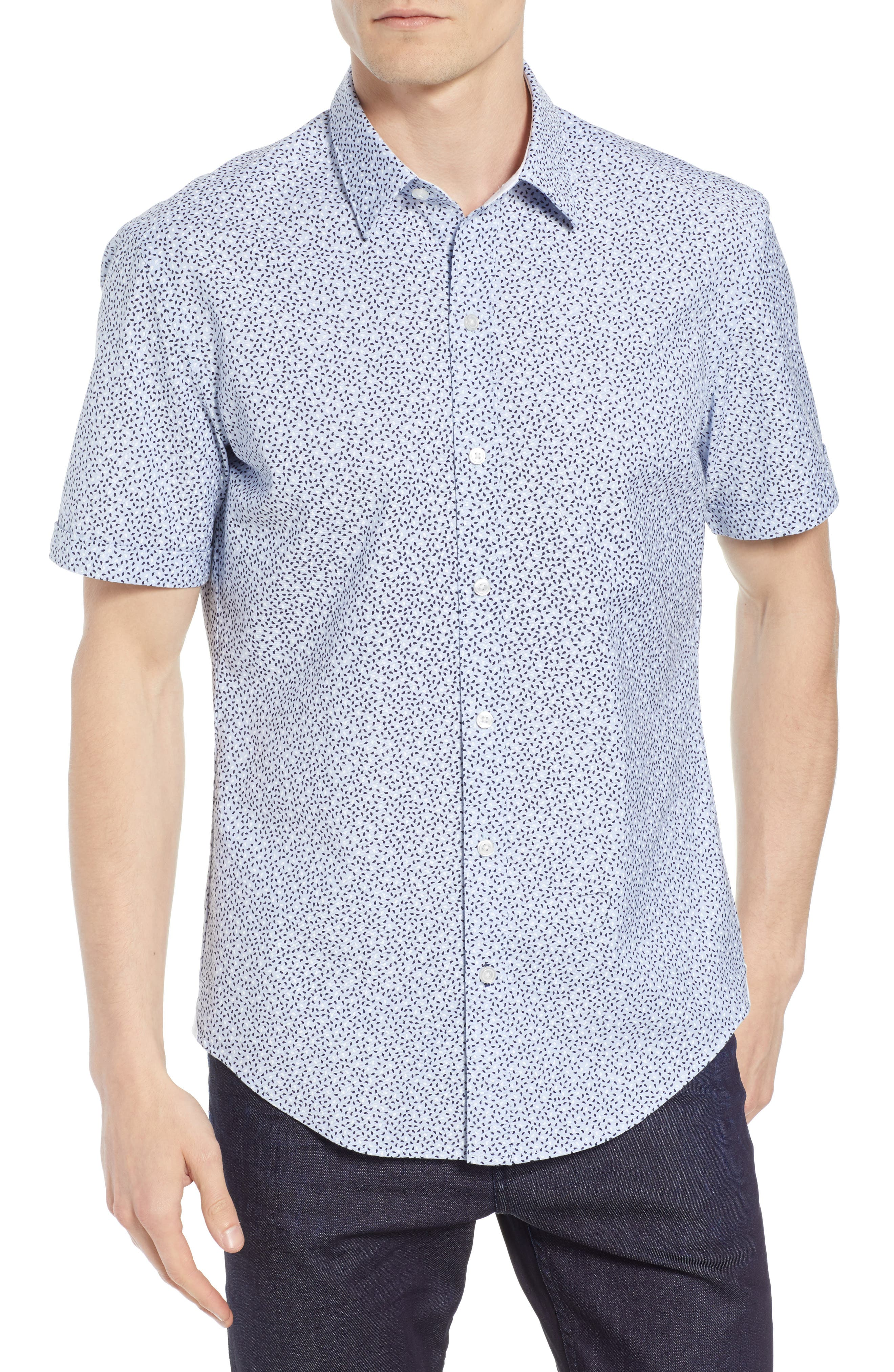 Robb Trim Fit Paisley Sport Shirt,                         Main,                         color, BLUE