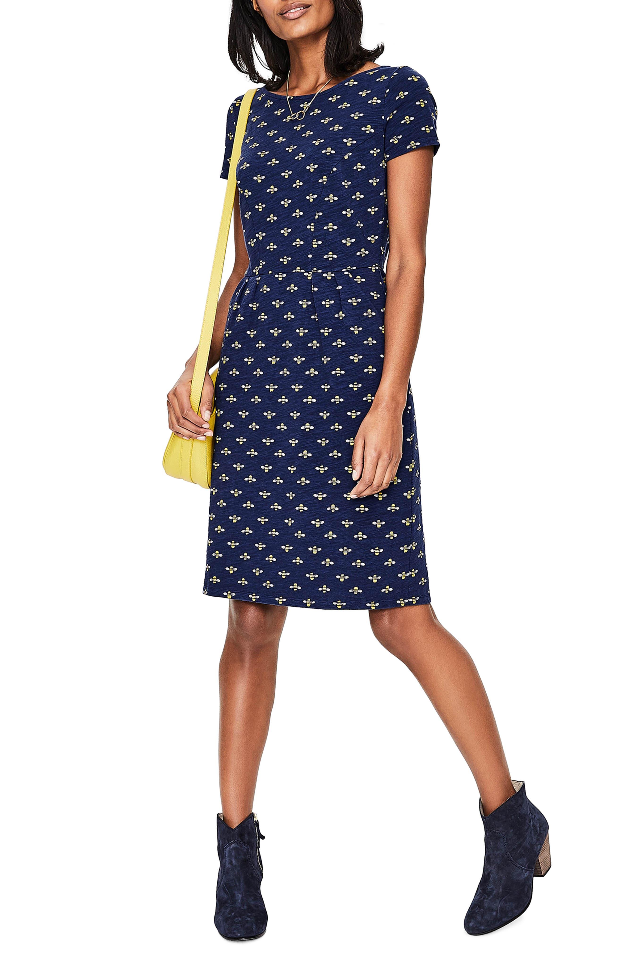 Phoebe Bird Print Jersey Dress,                             Main thumbnail 1, color,                             404