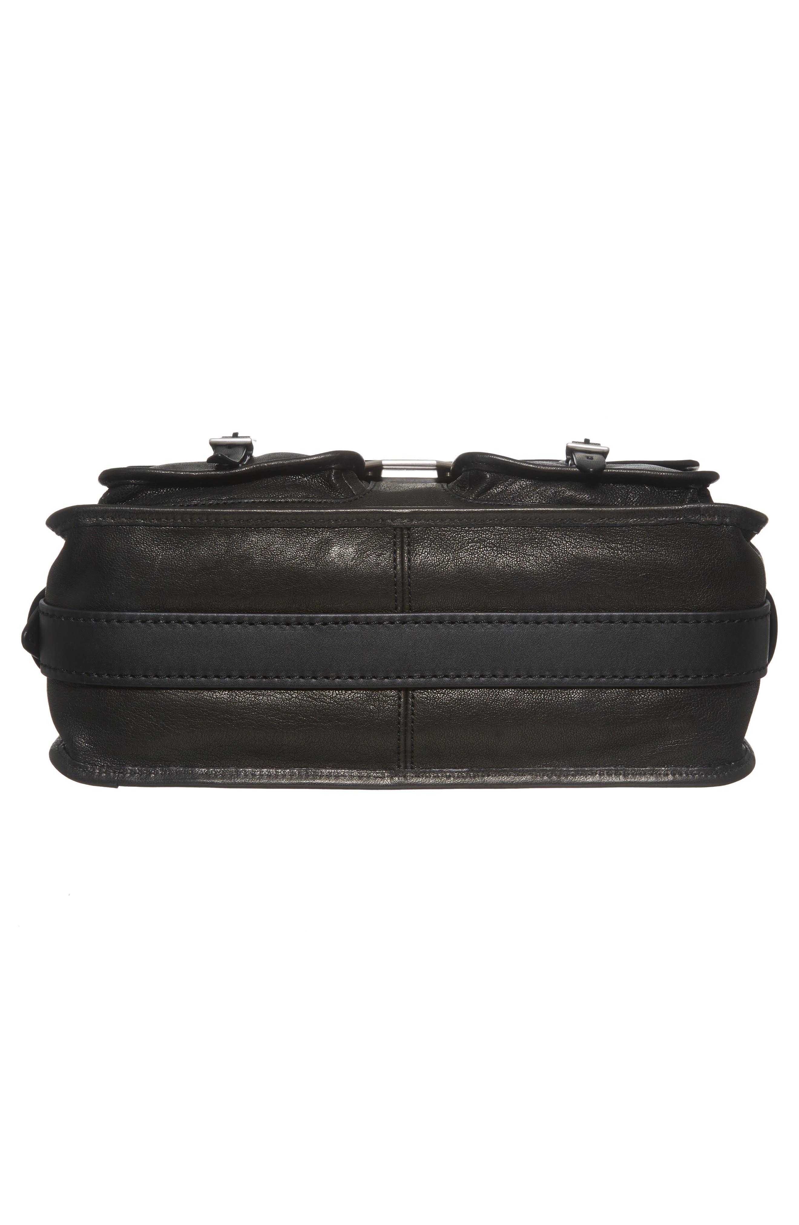 Field Leather Messenger Bag,                             Alternate thumbnail 6, color,                             BLACK