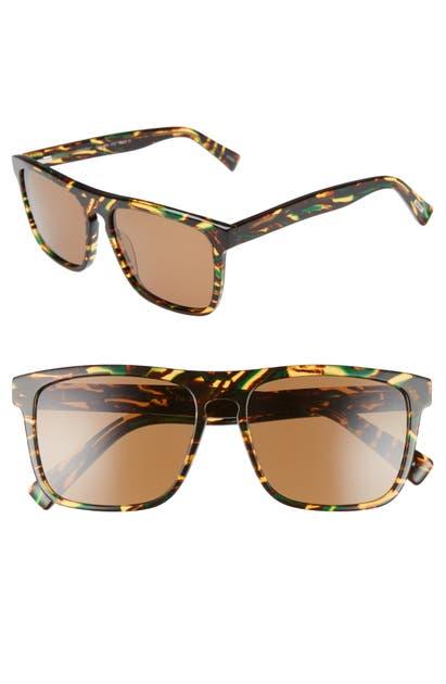 Eyebobs Sunglasses QUARTER ZIP 57MM POLARIZED SQUARE SUNGLASSES - GREEN BROWN TORTOISE