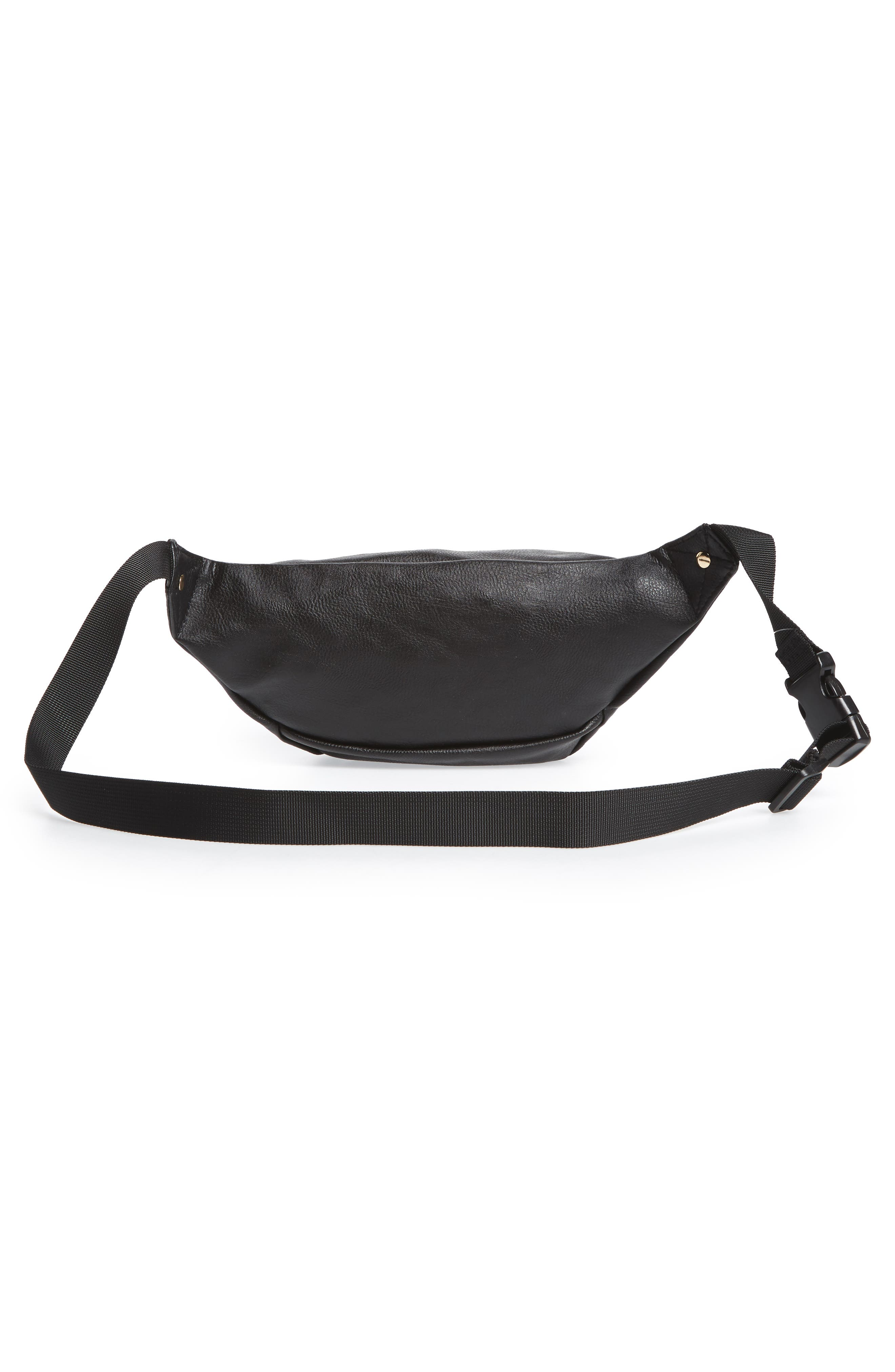 Embroidered Faux Leather Fanny Pack,                             Alternate thumbnail 3, color,