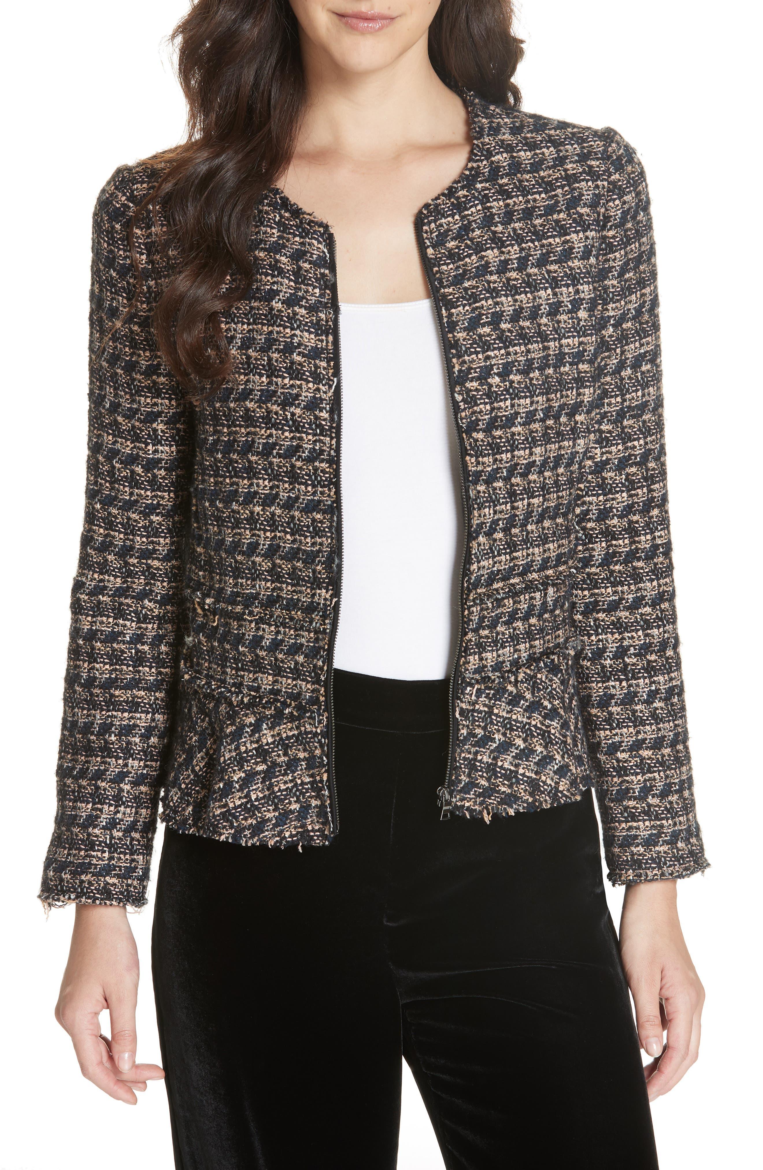 Zip Front Tweed Peplum Jacket,                             Main thumbnail 1, color,                             MULTI