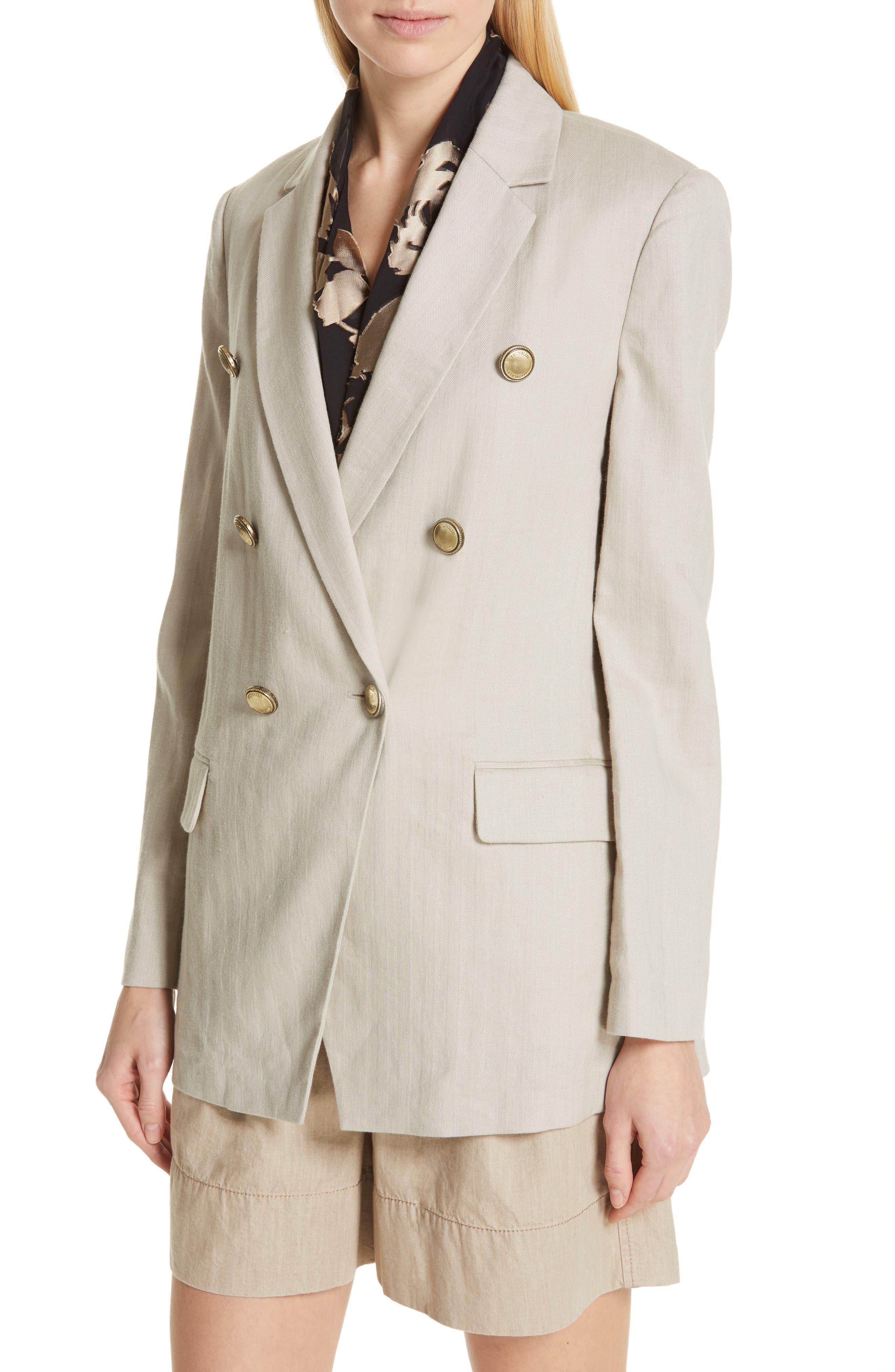 Chevron Weave Cotton & Linen Jacket,                             Alternate thumbnail 4, color,                             DESERT