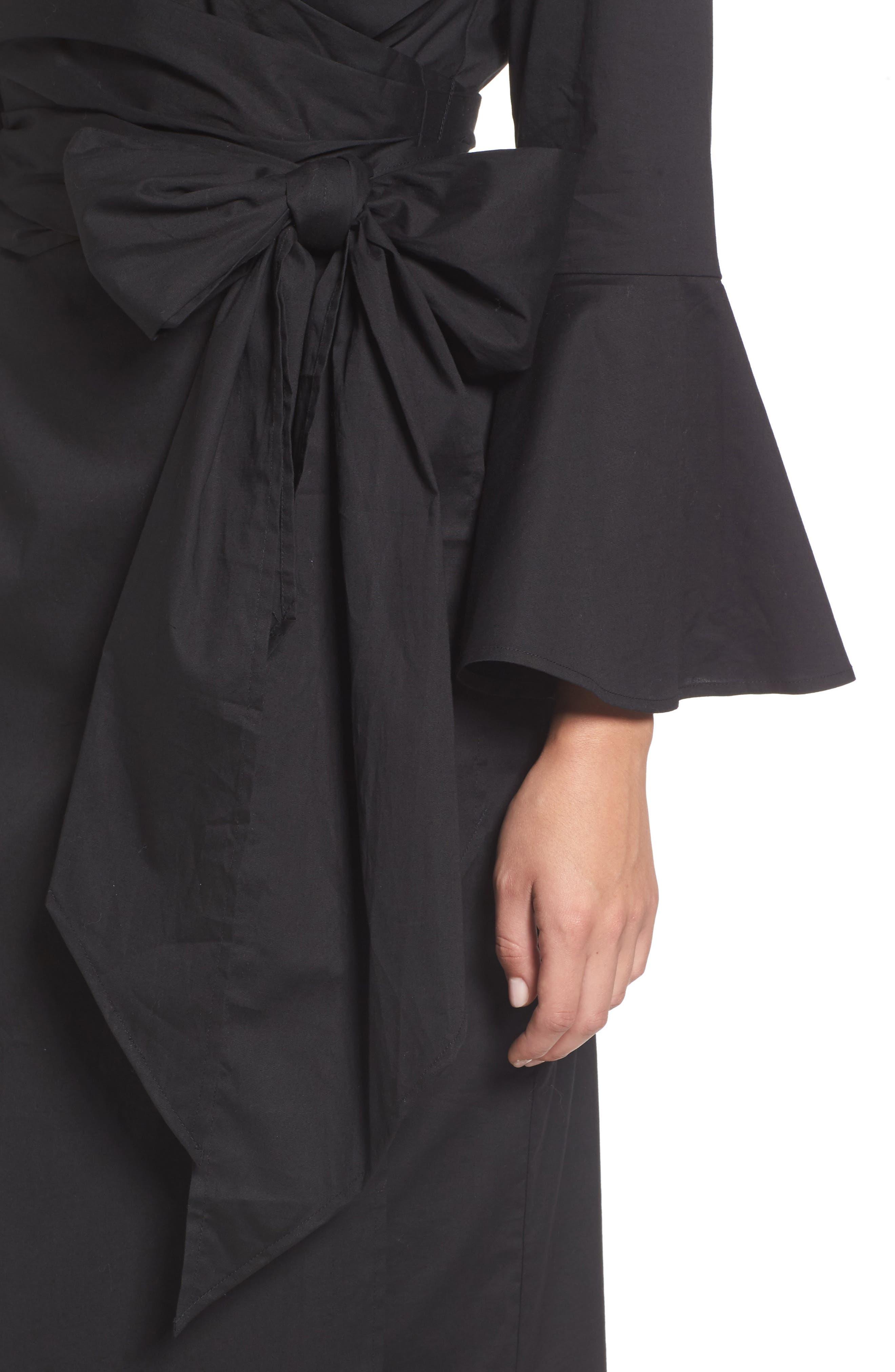 Wrap Bell Sleeve Dress,                             Alternate thumbnail 4, color,                             001