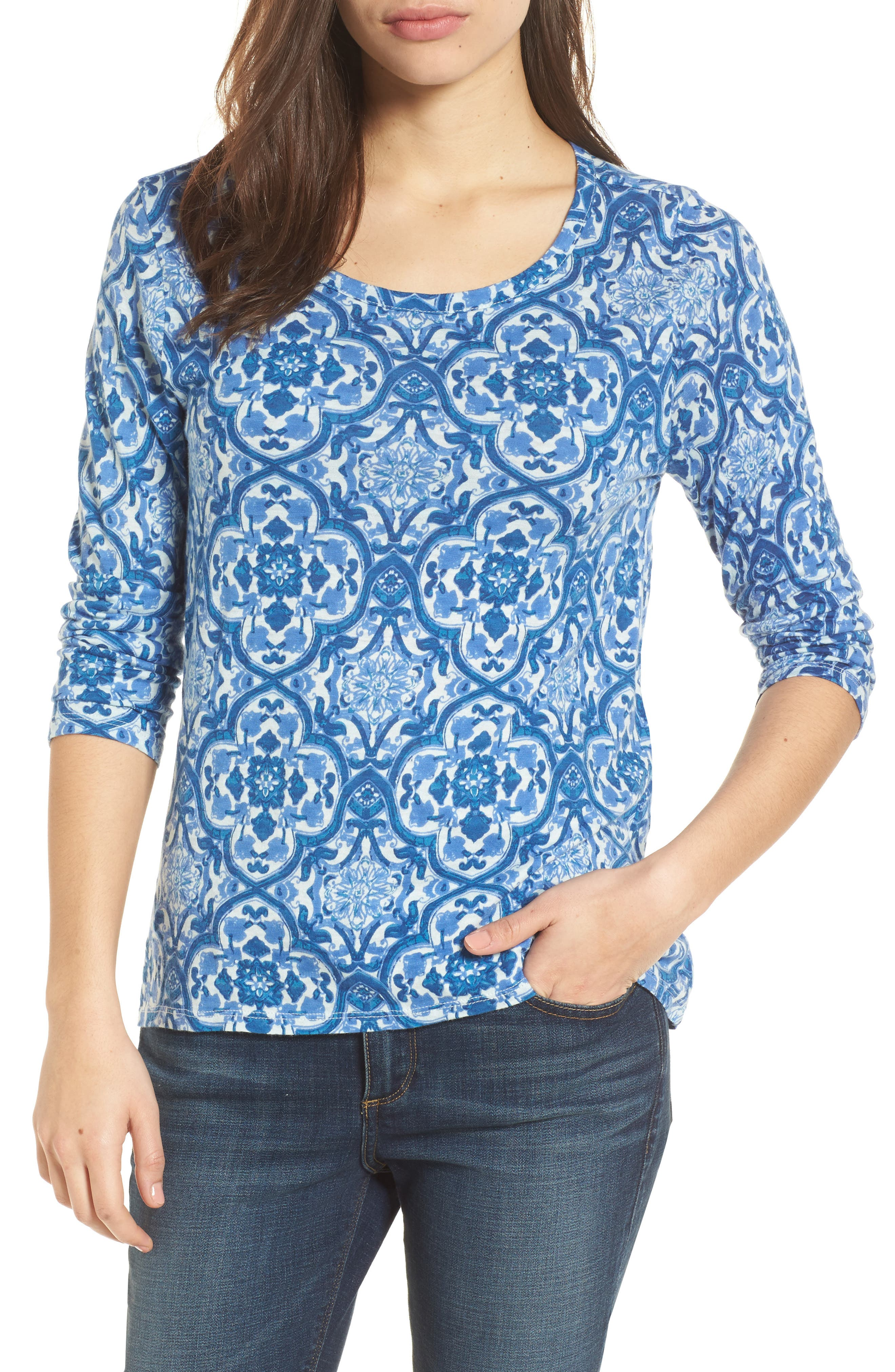 All Over Print Cotton Blend Top,                         Main,                         color, 460