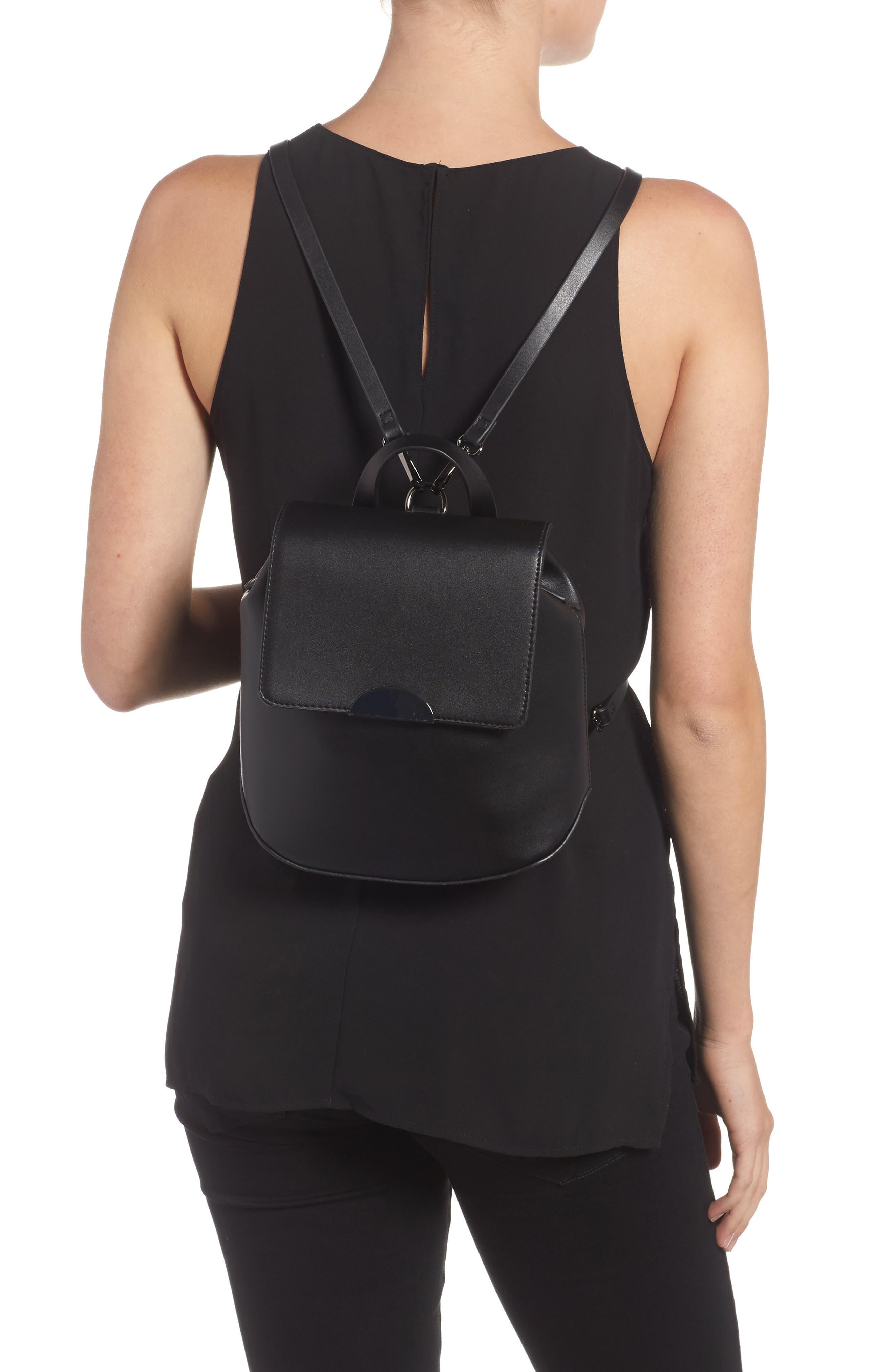 Faux Leather Mini Backpack,                             Alternate thumbnail 2, color,                             001