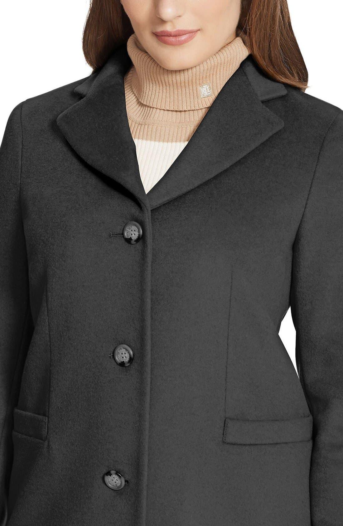 LAUREN RALPH LAUREN,                             Wool Blend Reefer Coat,                             Alternate thumbnail 3, color,                             BLACK