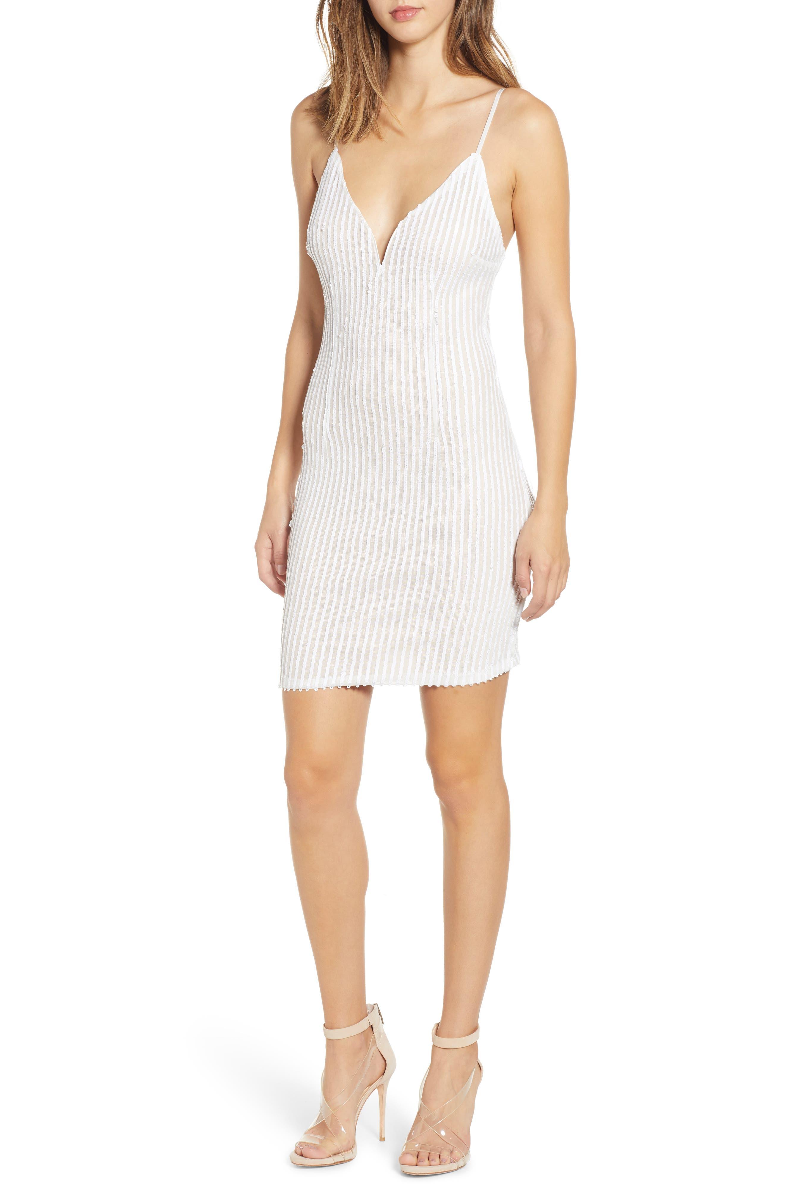 Tiffany Sequin Stripe Sheath Dress,                         Main,                         color, WHITE