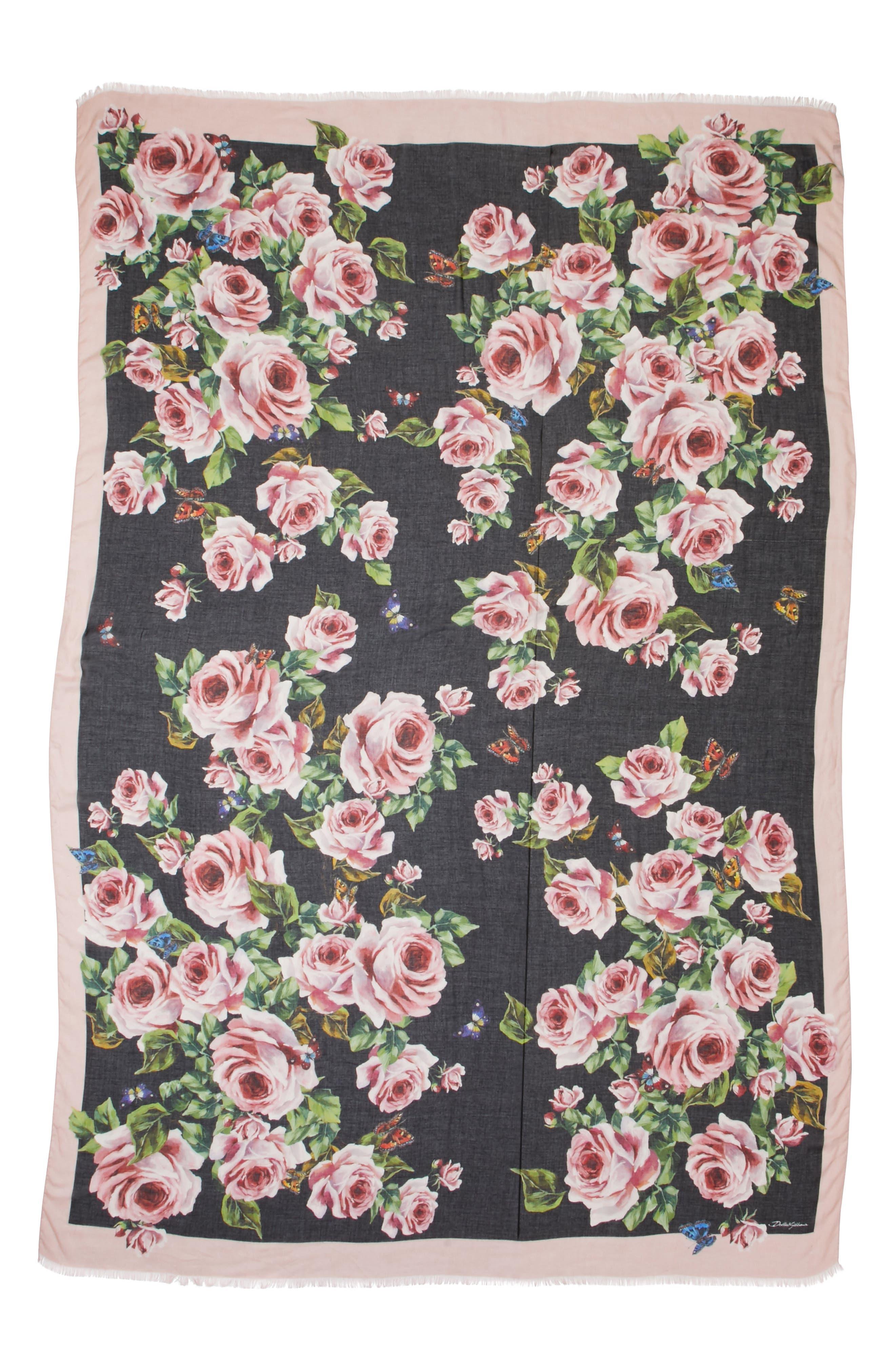 Rose Print Modal & Cashmere Scarf,                         Main,                         color, 001