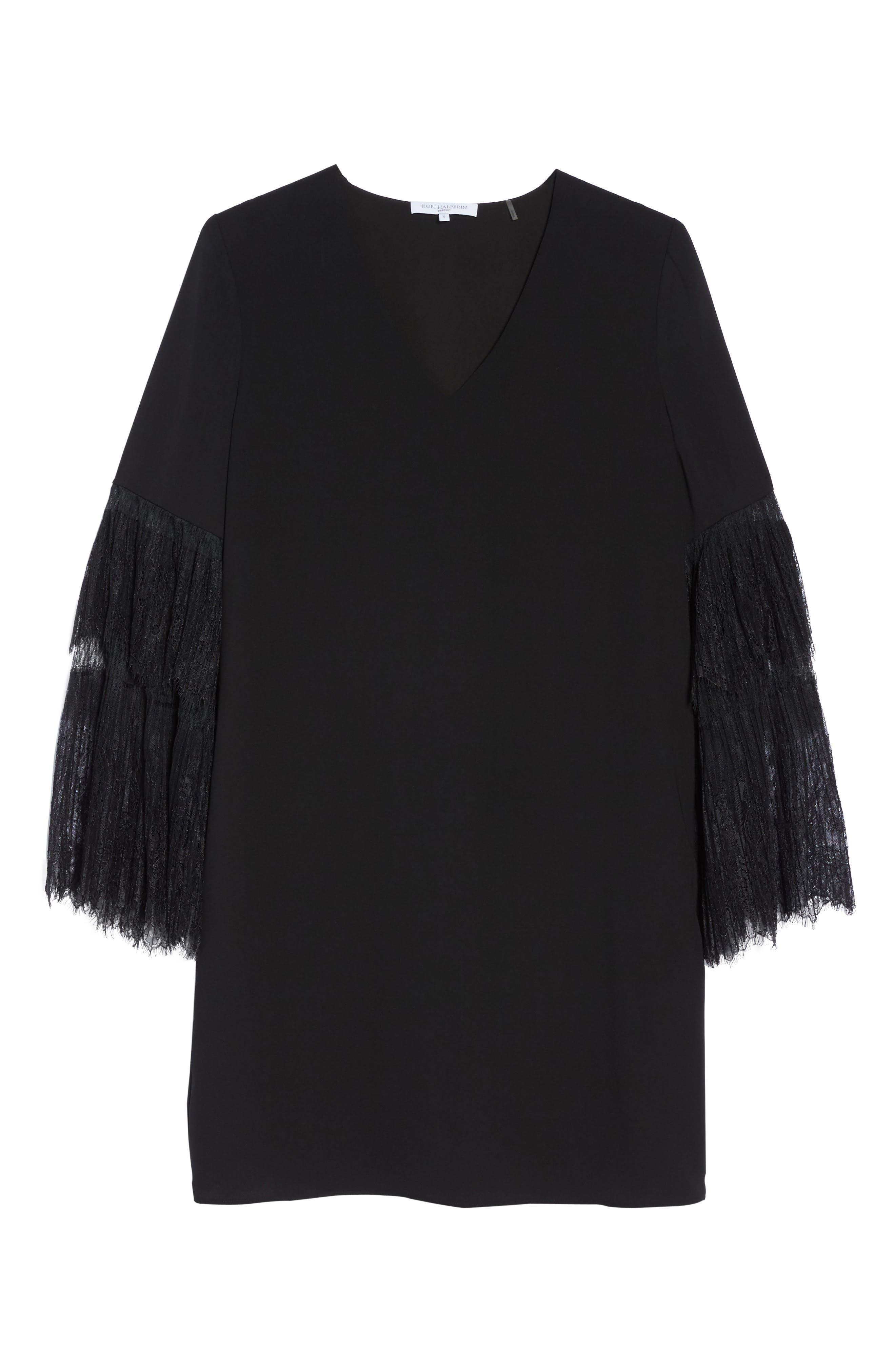 Suki Lace Sleeve Shift Dress,                             Alternate thumbnail 6, color,                             001