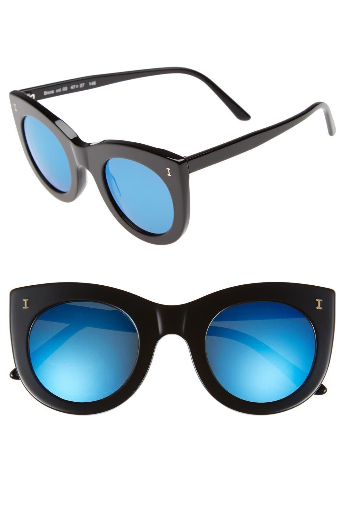 'Boca' 47mm Round Sunglasses, Main, color, 001