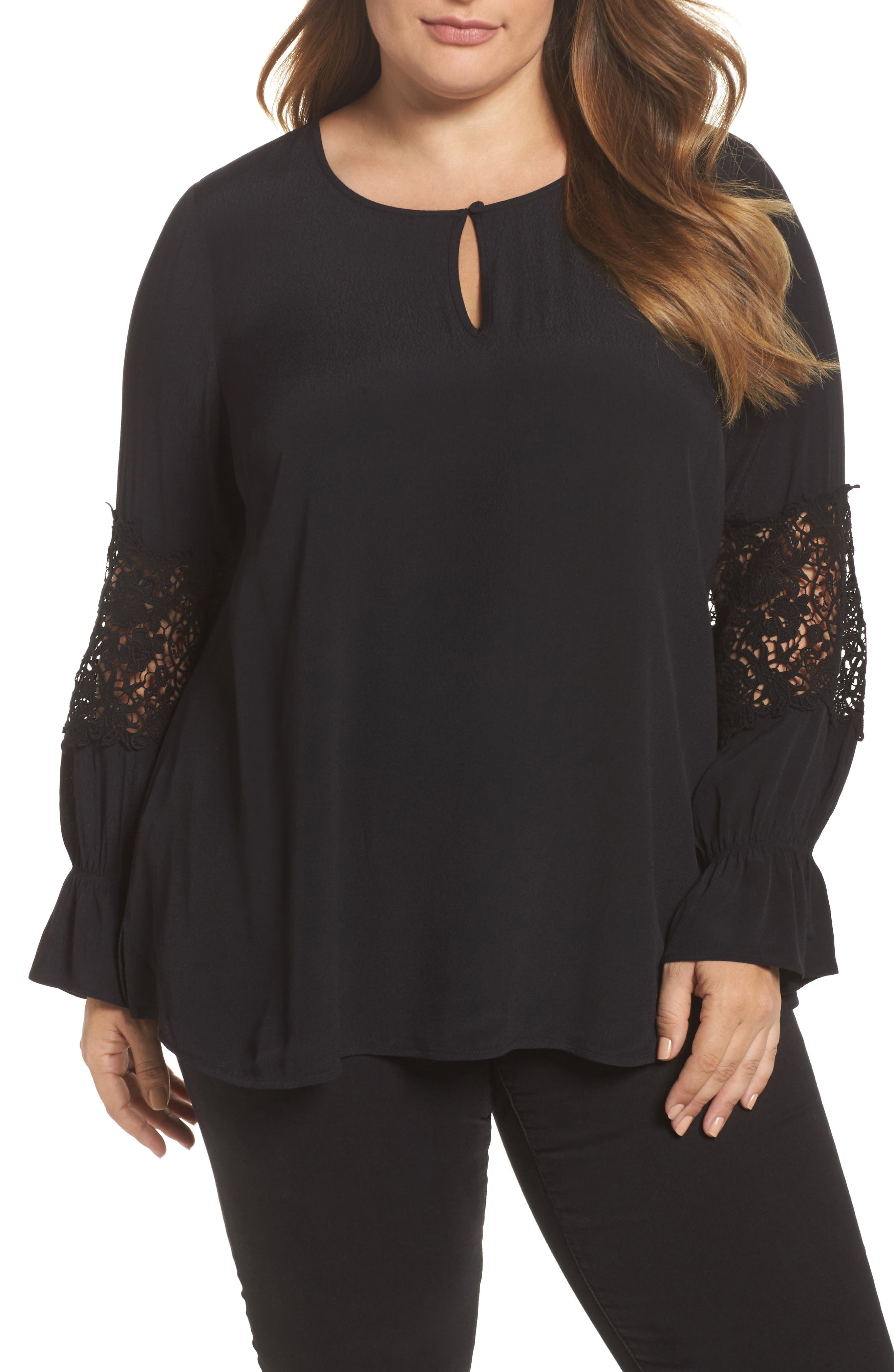 Bell Sleeve Lace Top,                             Main thumbnail 1, color,                             002