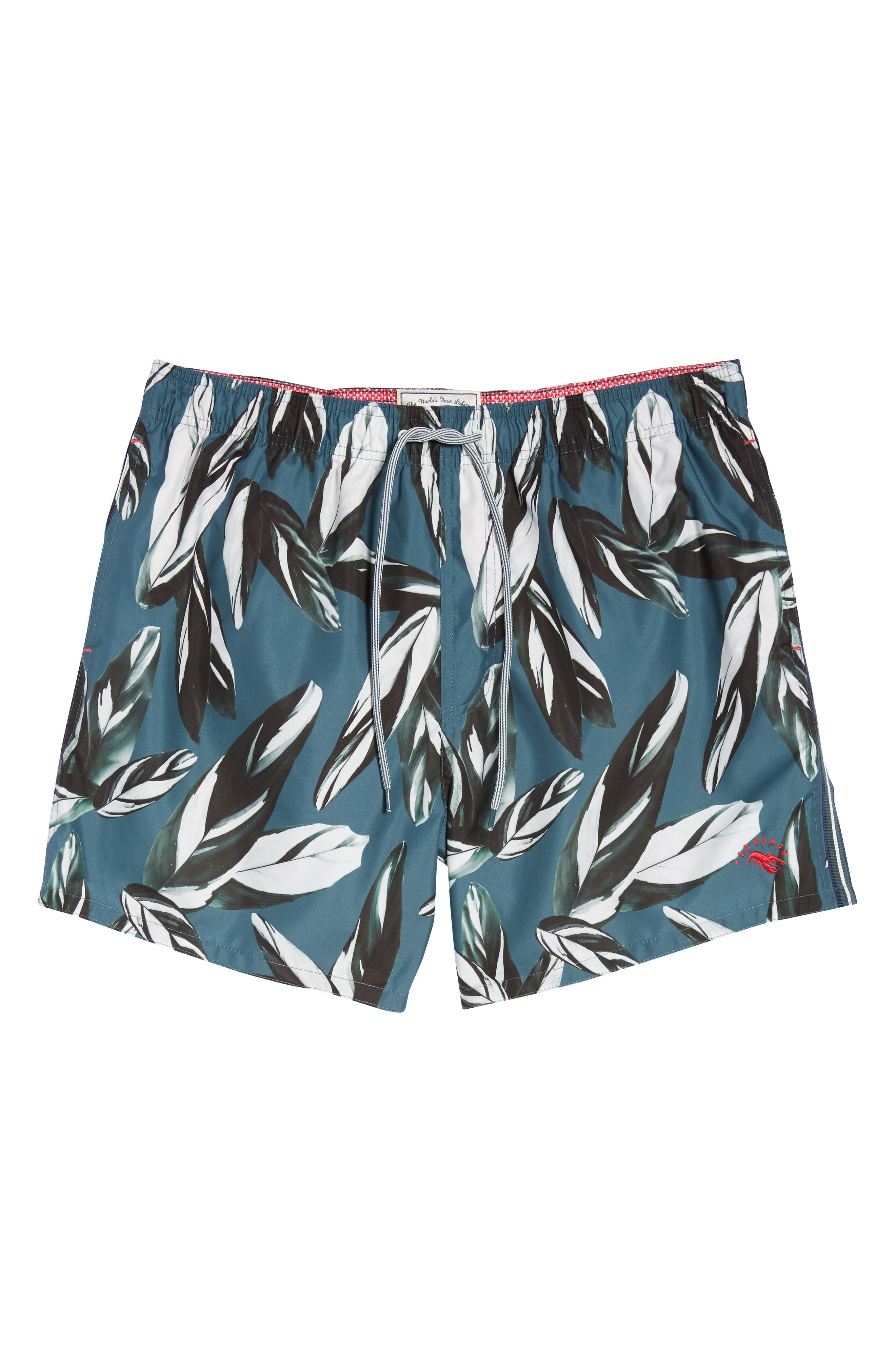 Bury Leaf Print Swim Shorts,                             Alternate thumbnail 6, color,                             440
