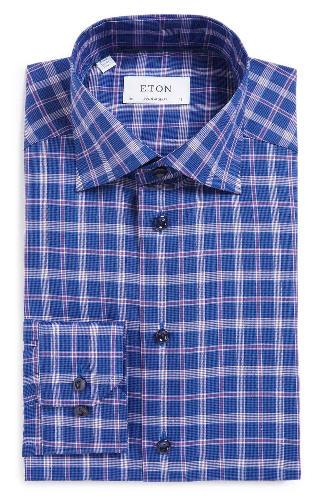 ETON Contemporary Fit Plaid Dress Shirt, Main, color, 500
