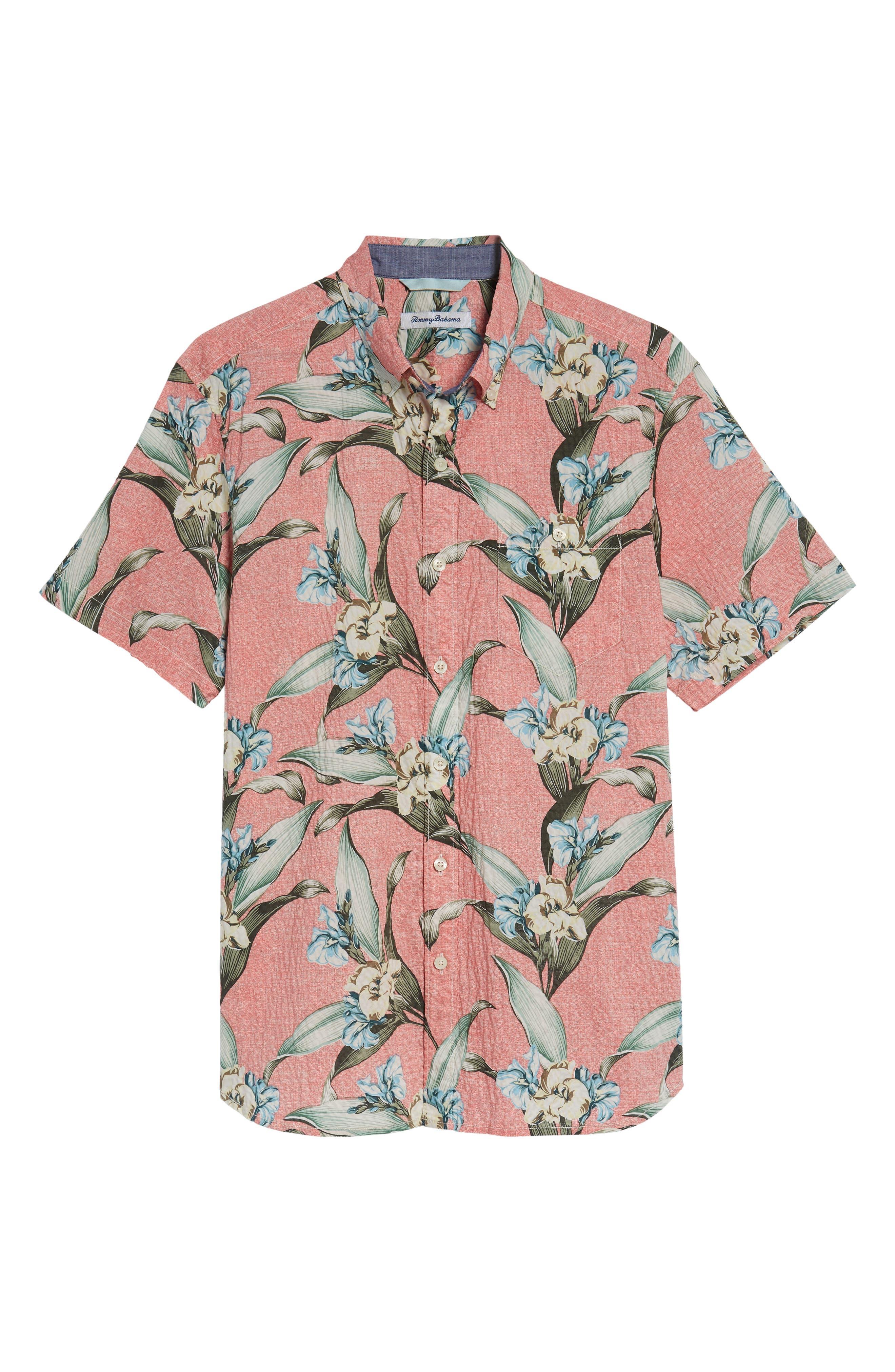 Cape Floral Seersucker Sport Shirt,                             Alternate thumbnail 6, color,