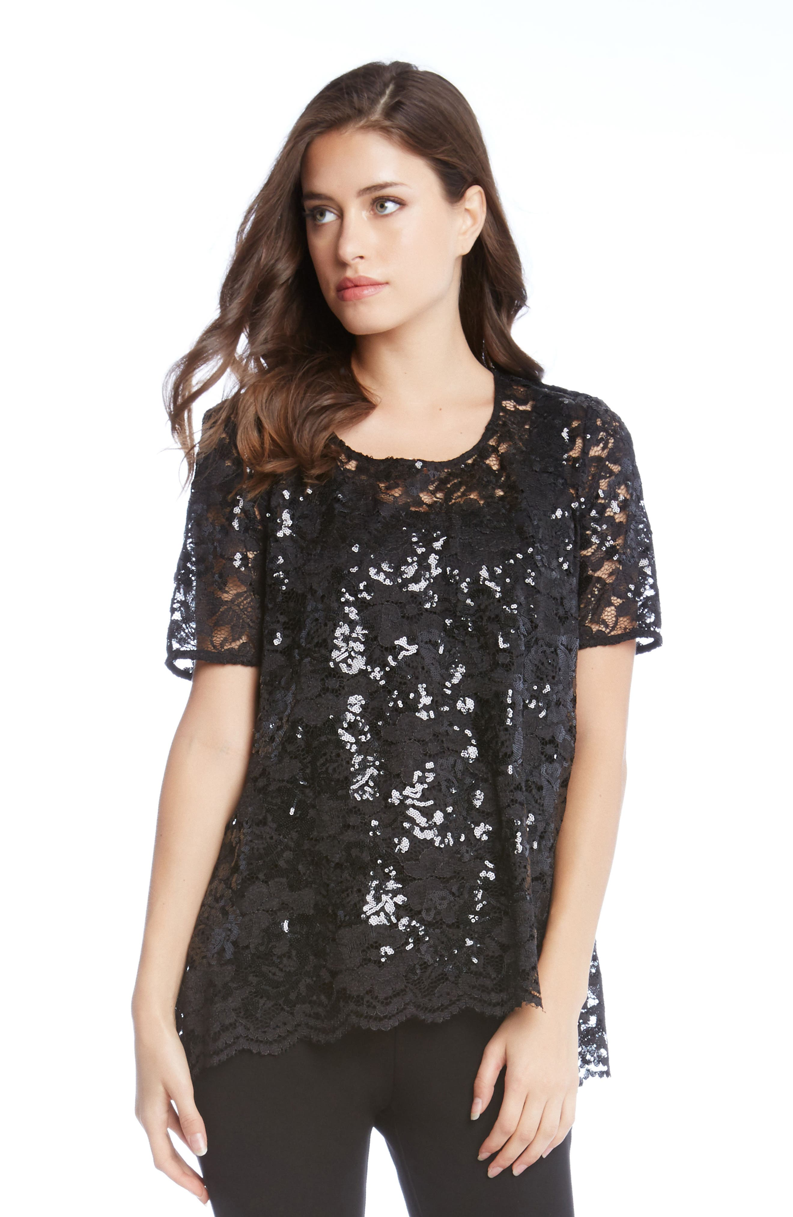 Sequin Lace Flare Top,                             Alternate thumbnail 3, color,                             001