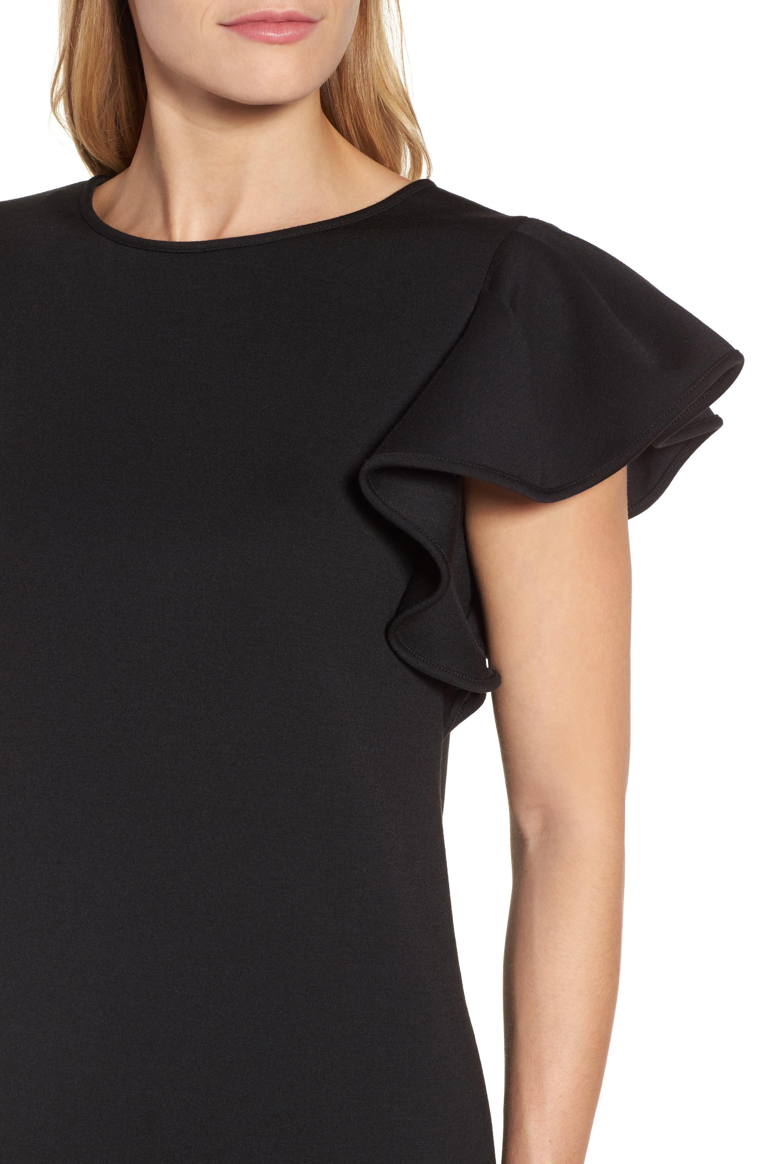 Ruffle Sleeve Neoprene Shift Dress,                             Alternate thumbnail 4, color,                             001