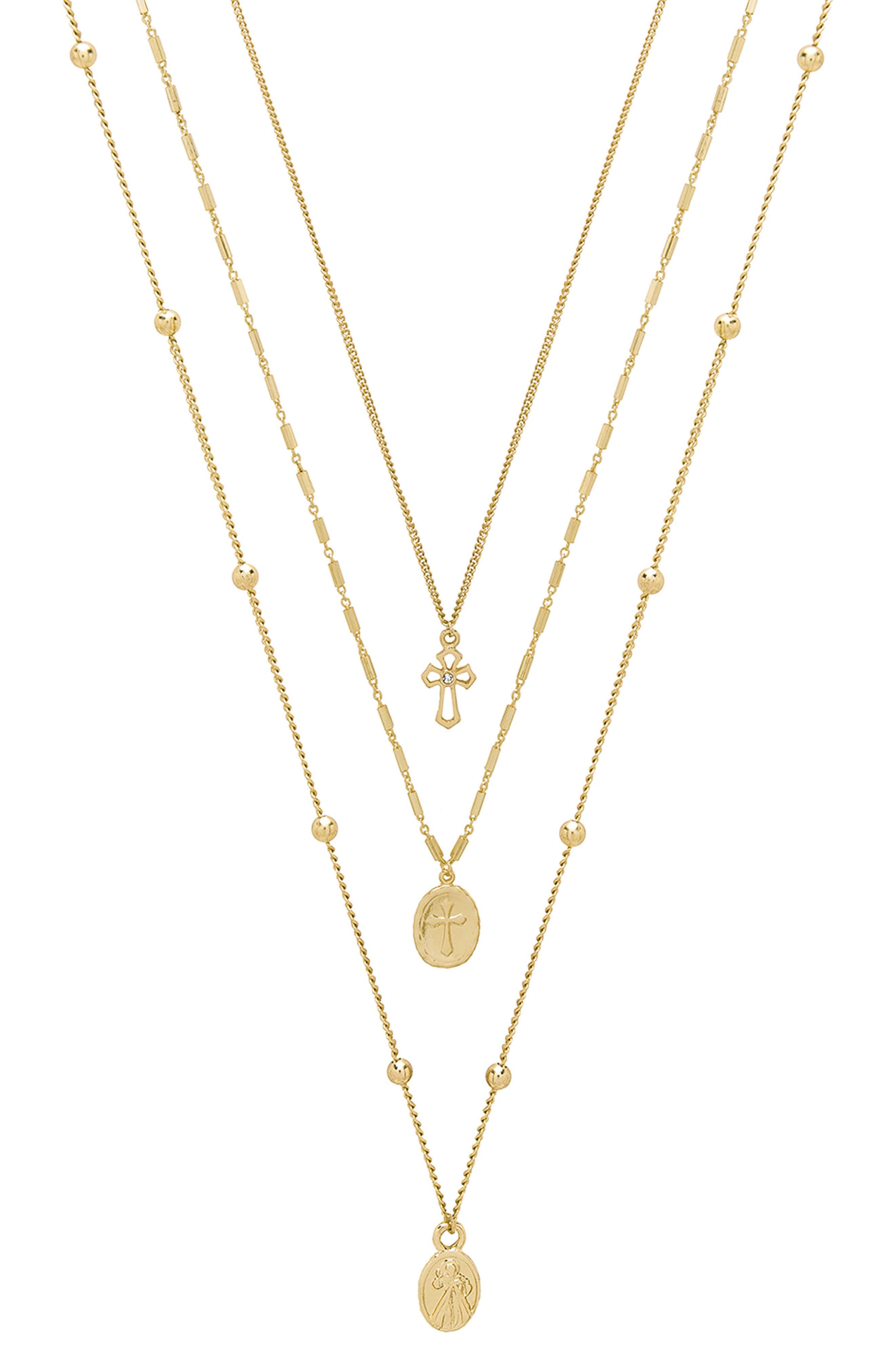 Set of 3 Cross Necklaces,                         Main,                         color, 710