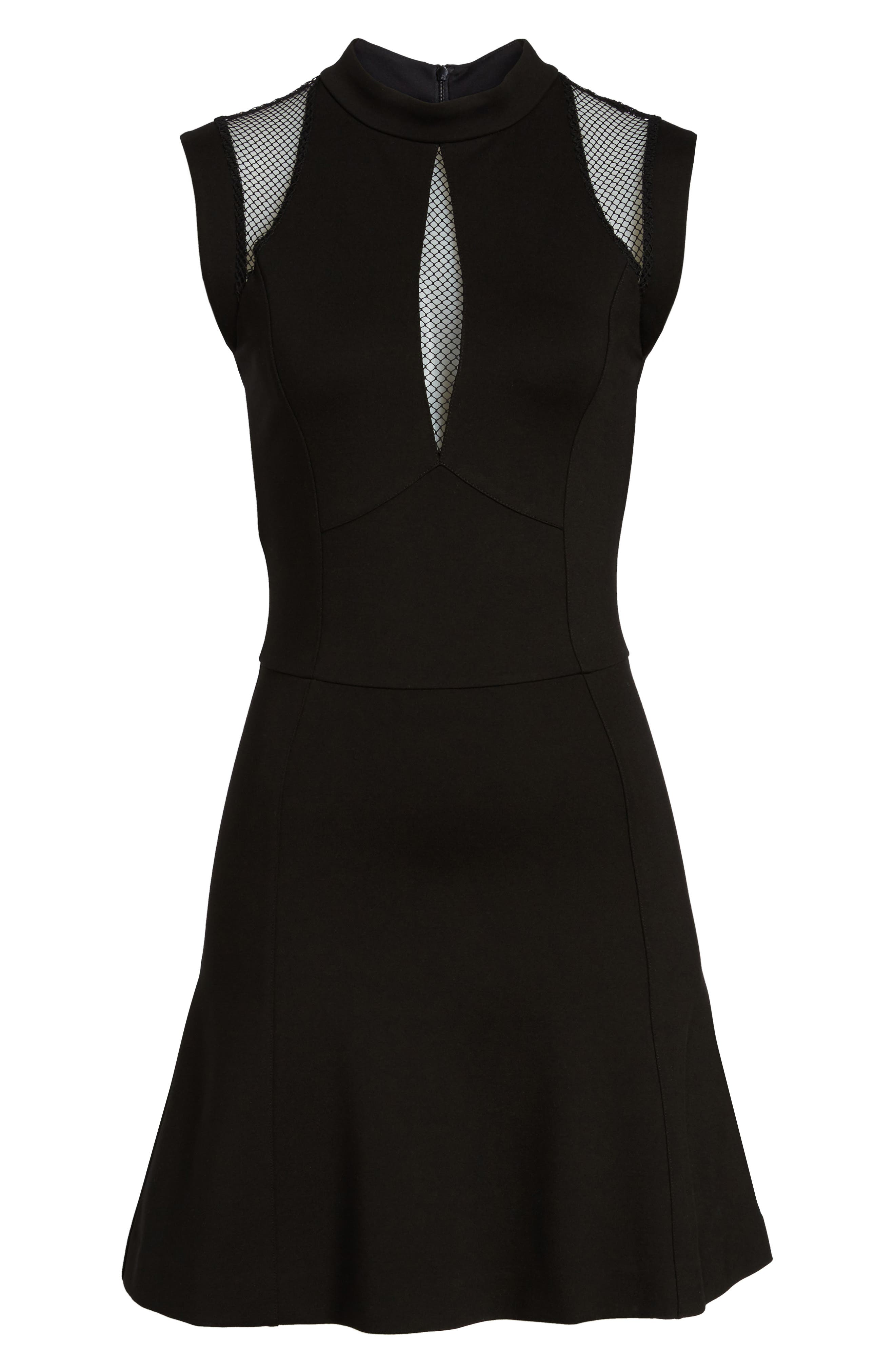 Galactica Fit & Flare Dress,                             Alternate thumbnail 6, color,                             001