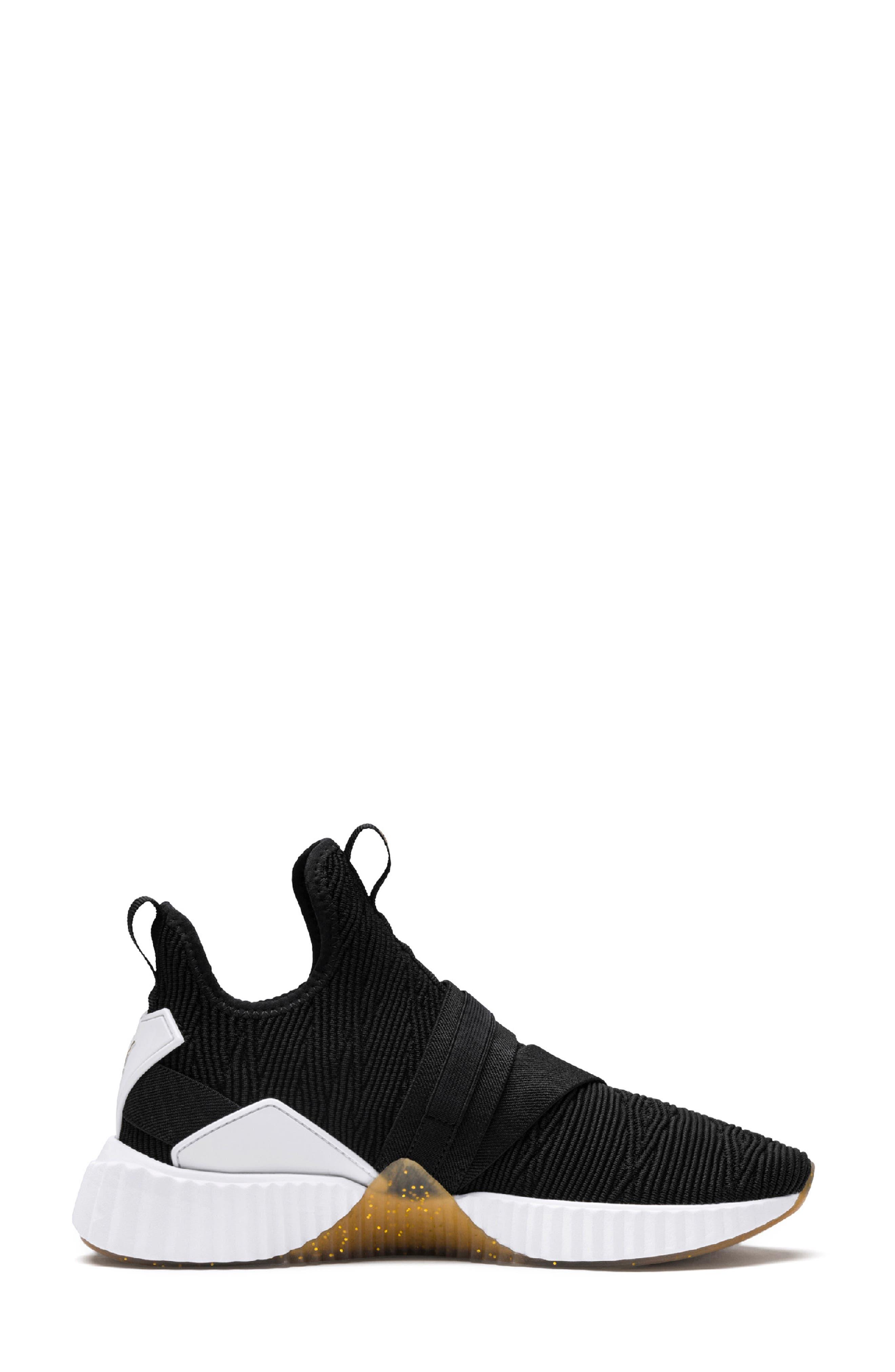 Defy Mid Varsity Sneaker,                             Alternate thumbnail 3, color,                             PUMA BLACK/ METALLIC GOLD