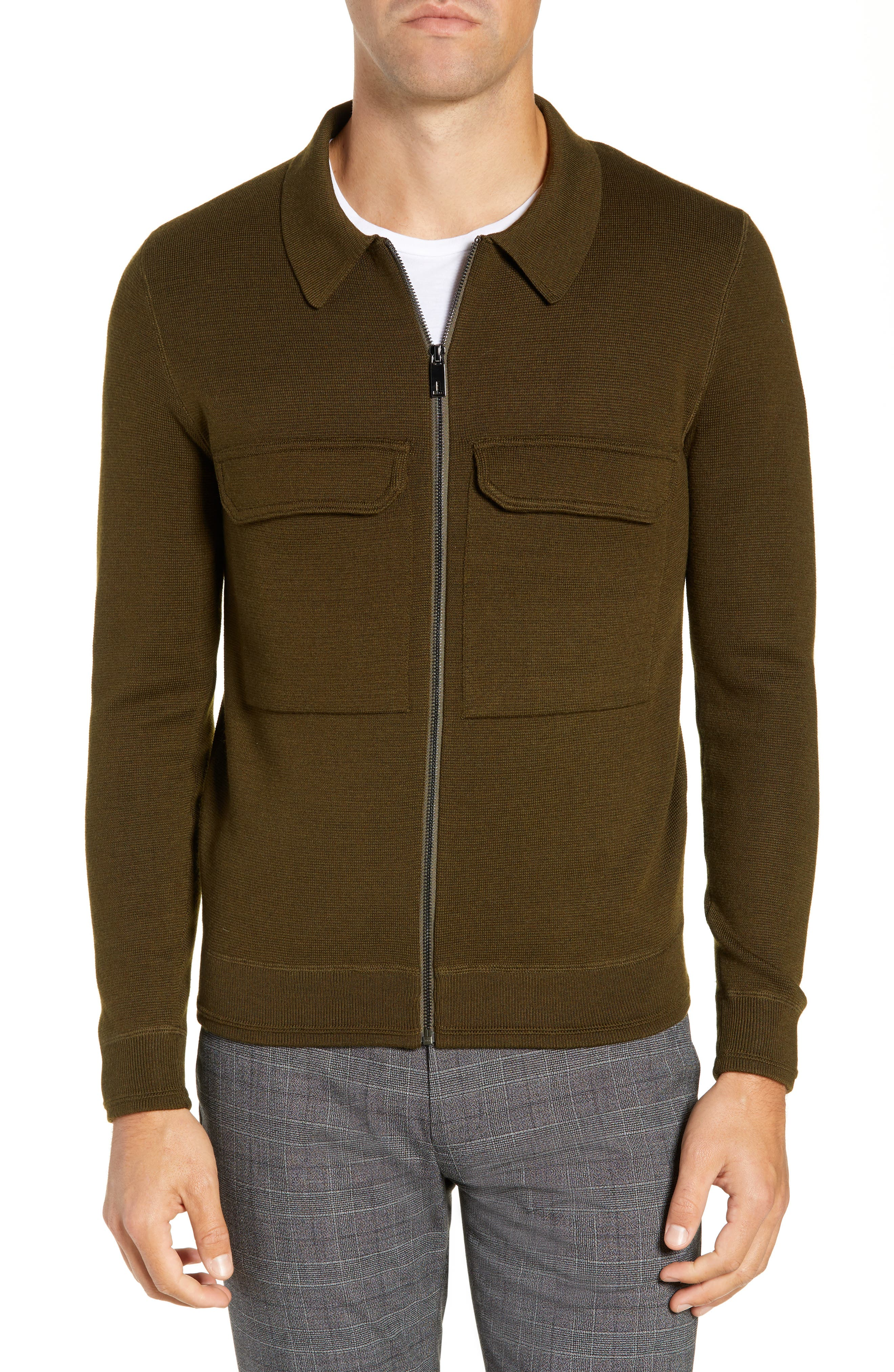 Akwa Slim Fit Zip Wool Blend Sweater,                         Main,                         color, KHAKI