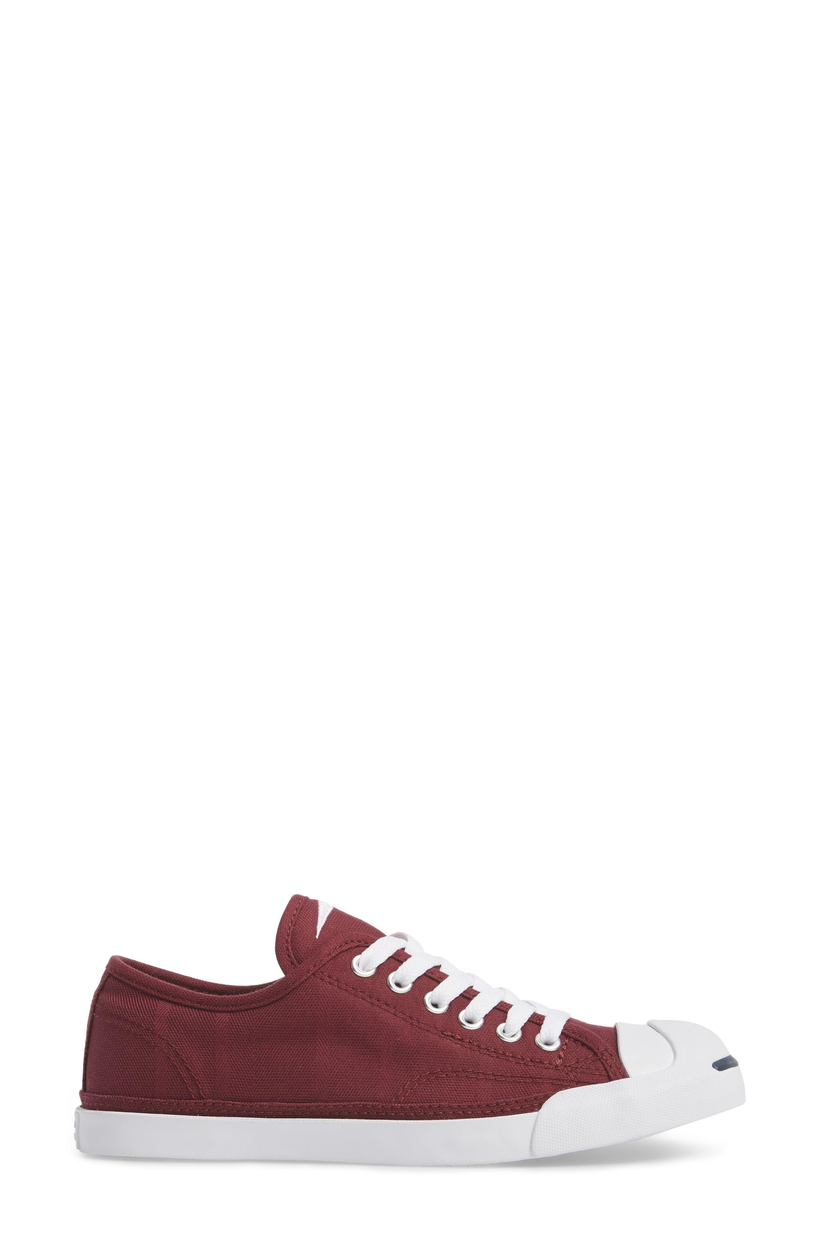 Jack Purcell Low Top Sneaker,                             Alternate thumbnail 3, color,                             DARK BURGUNDY