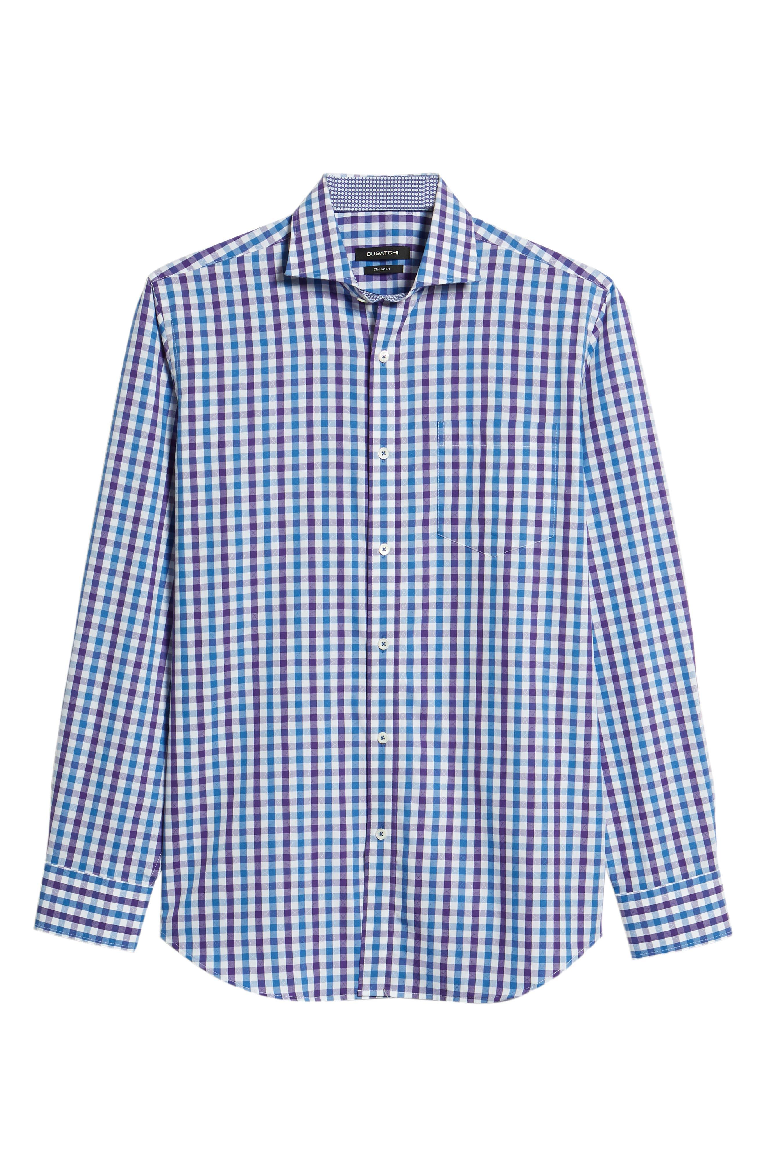 Classic Fit Jacquard Check Sport Shirt,                             Alternate thumbnail 6, color,