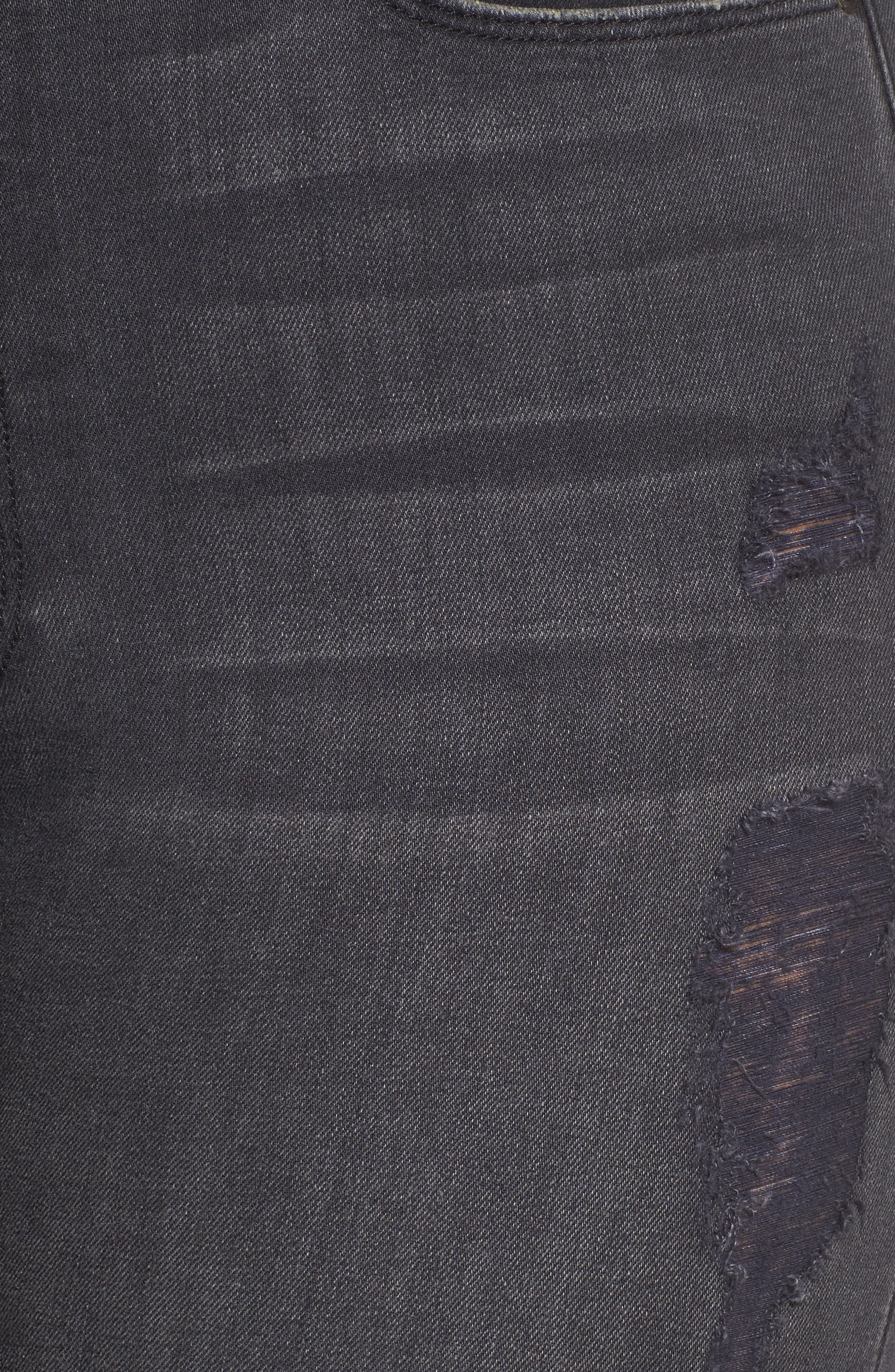 Good Waist High Waist Ripped Skinny Jeans,                             Alternate thumbnail 5, color,                             001