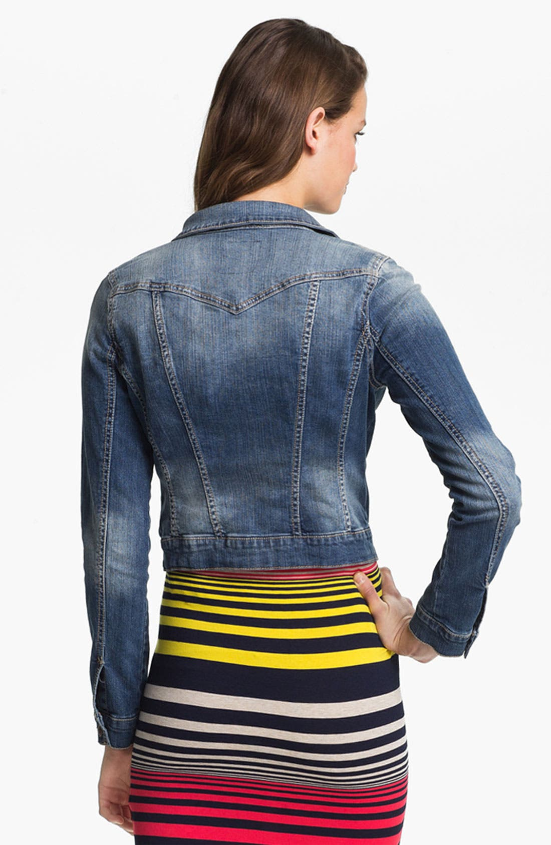JESSICA SIMPSON,                             'Pixie' Denim Jacket,                             Alternate thumbnail 5, color,                             400
