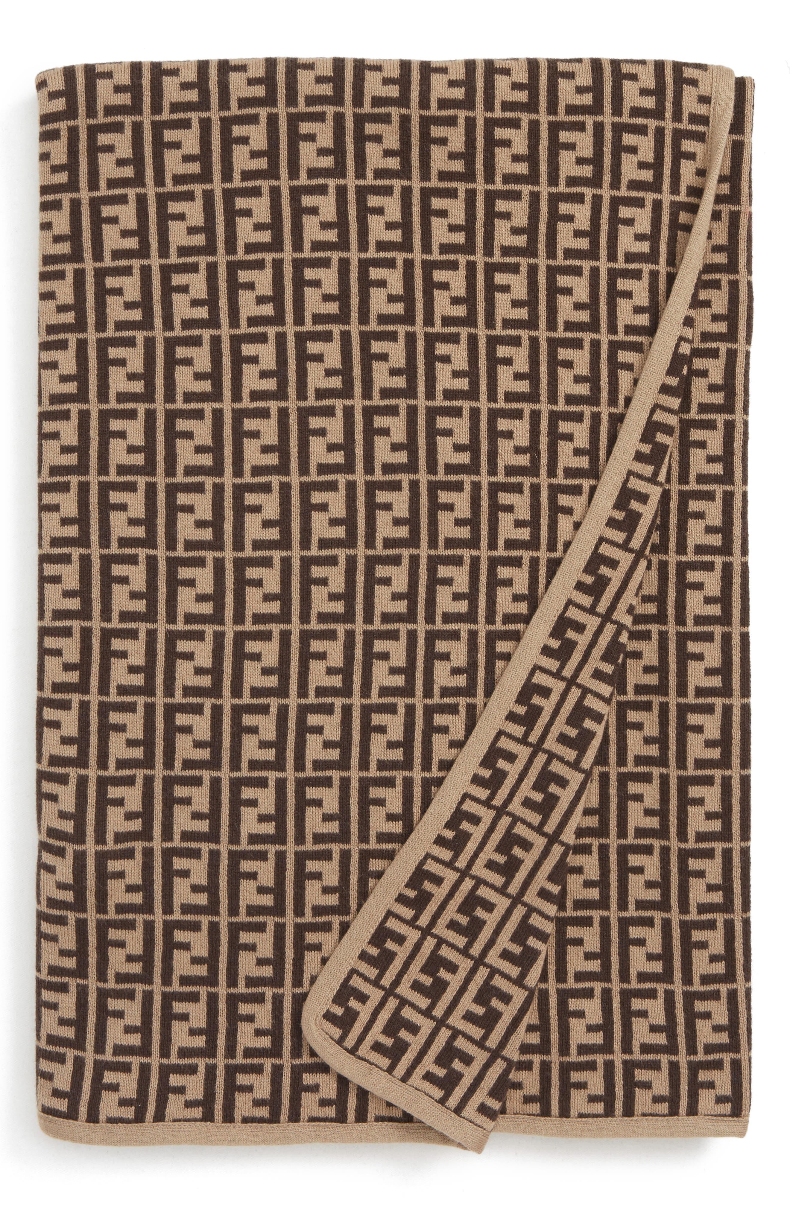 FENDI Logo Cotton & Cashmere Baby Blanket, Main, color, BUJ101 A3TE