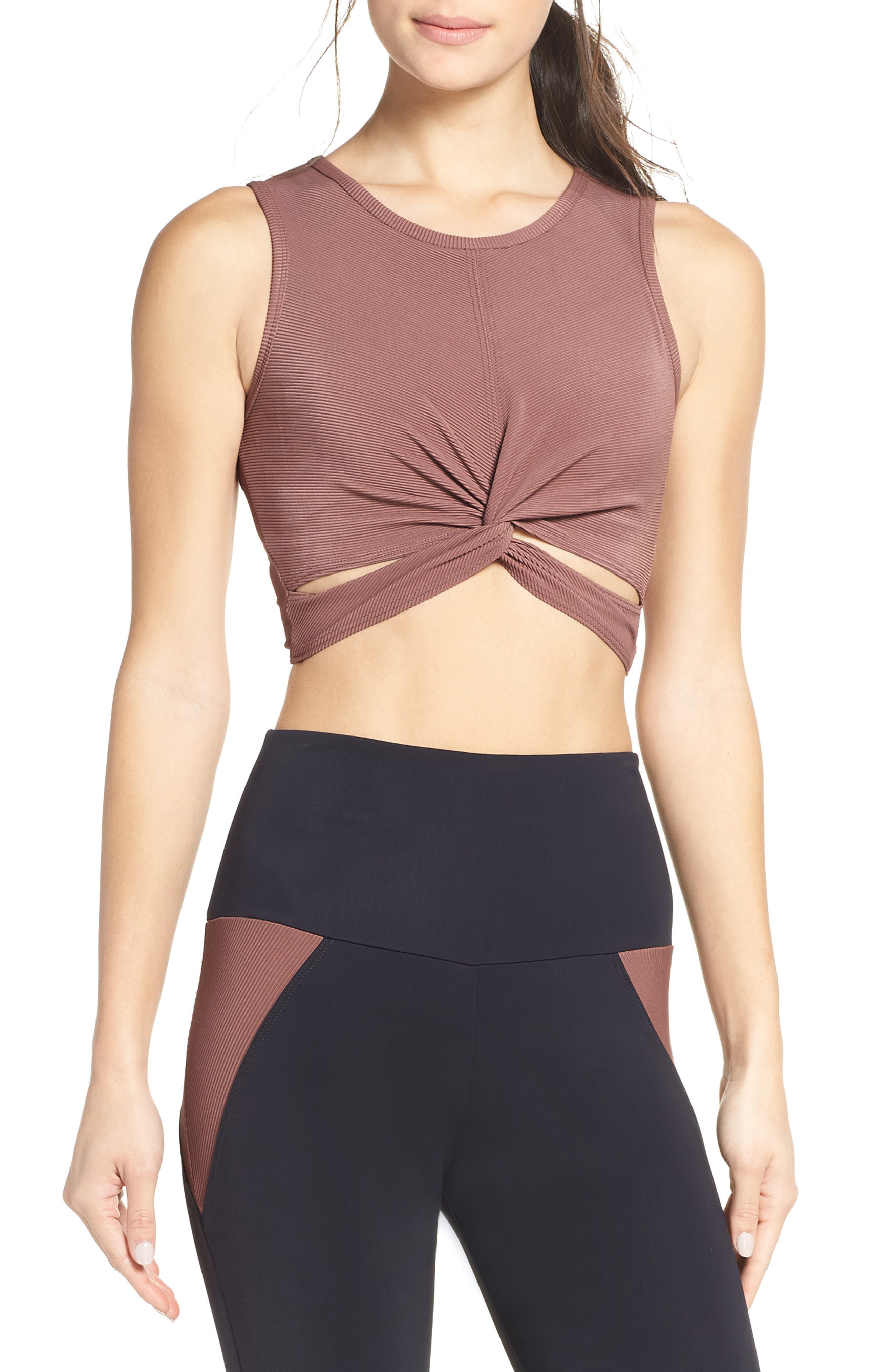 Front Twist Crop Top,                             Main thumbnail 1, color,                             TOAST RIB