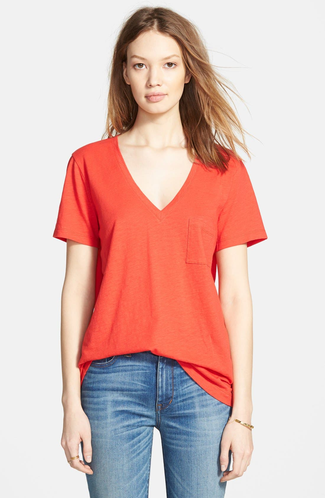 Whisper Cotton V-Neck Pocket Tee,                             Main thumbnail 28, color,