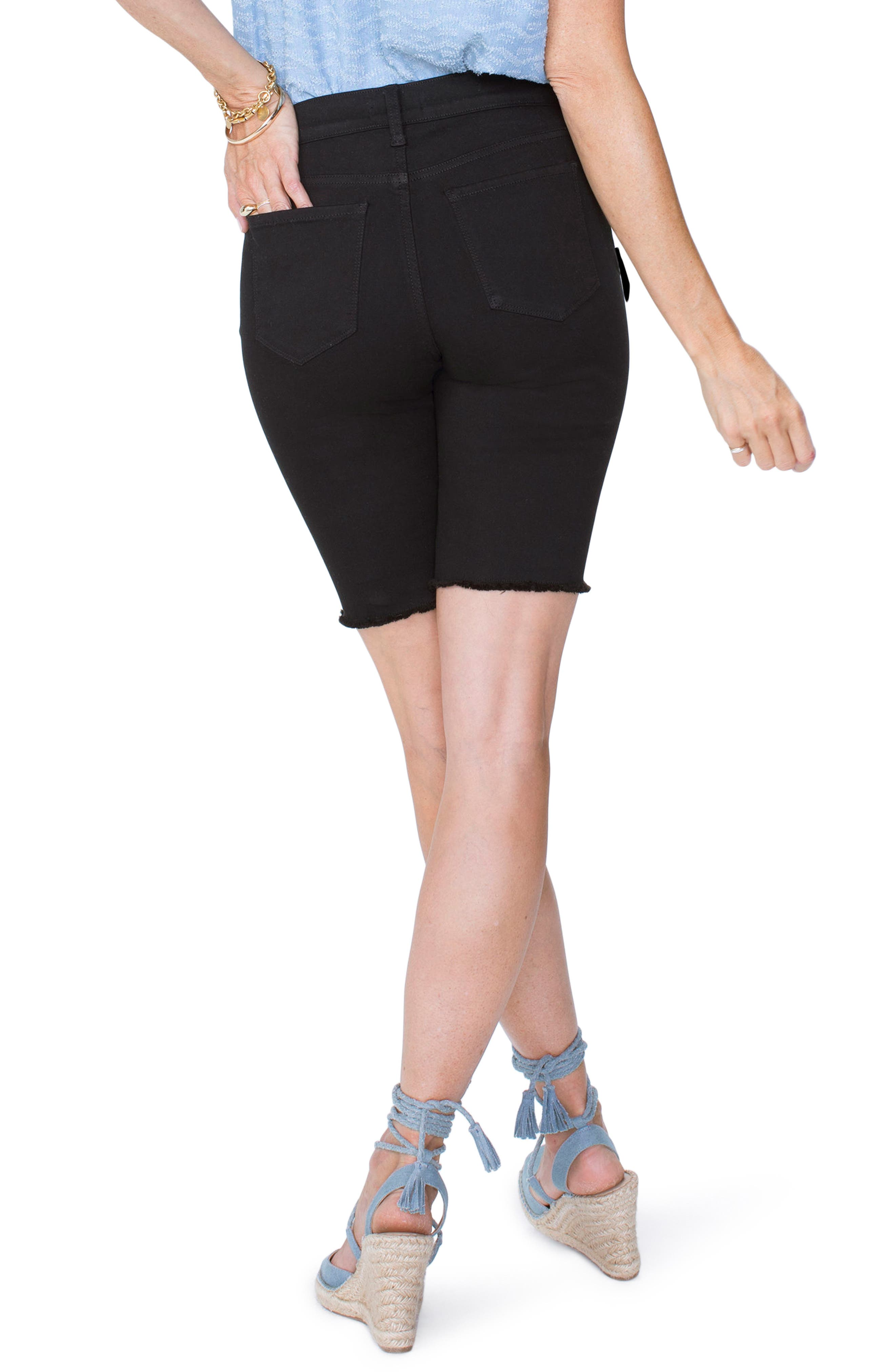 Briella Frayed Hem Bermuda Shorts,                             Alternate thumbnail 2, color,                             001