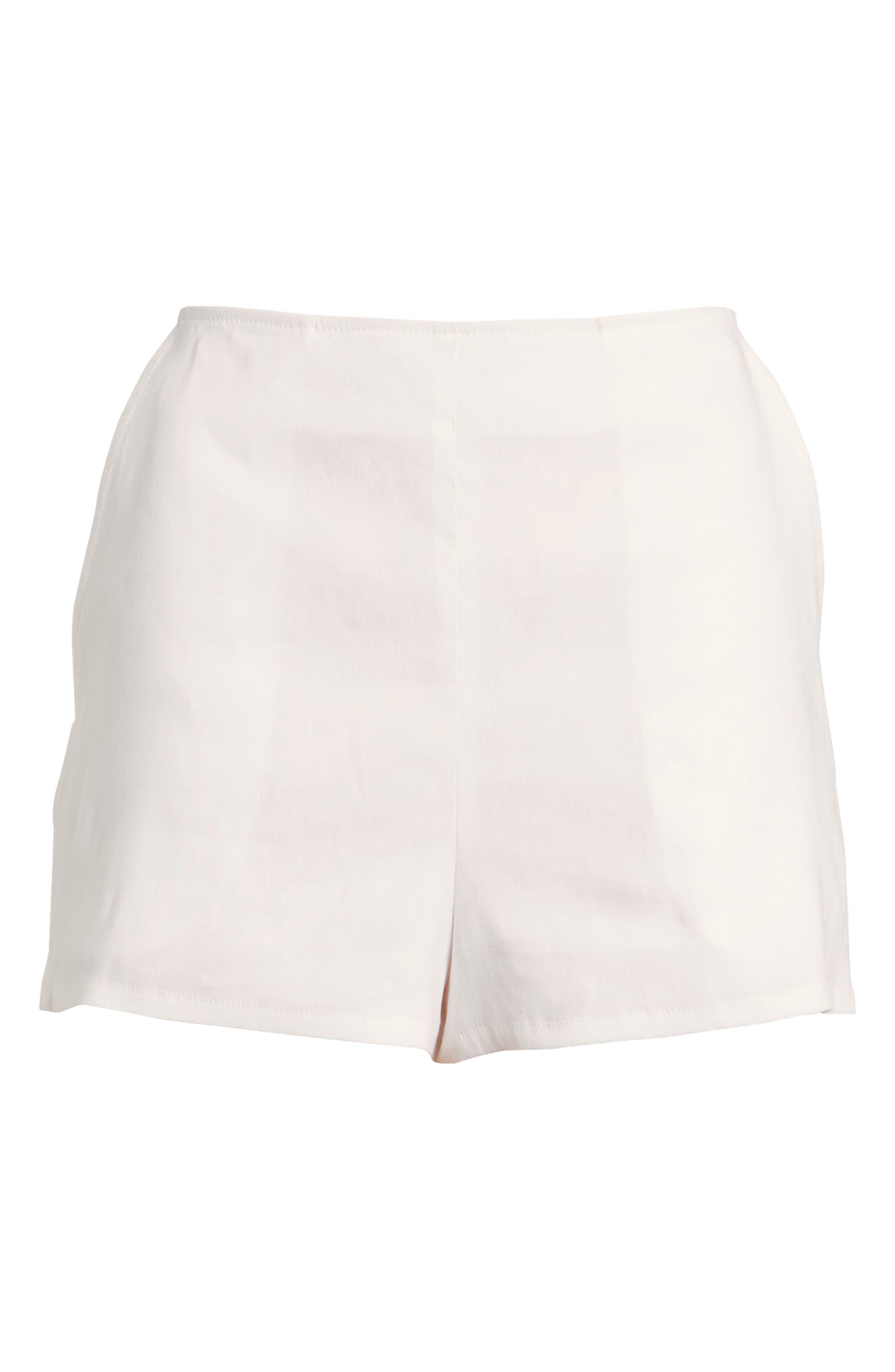 High Waist Linen Blend Shorts,                             Alternate thumbnail 30, color,